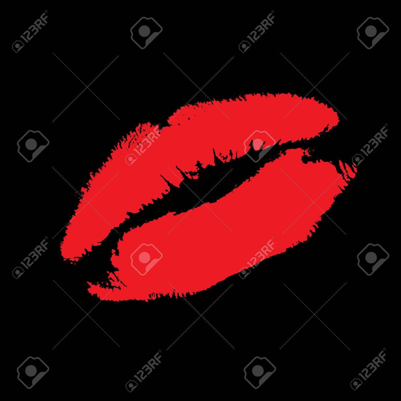The Imprint of the feminine lips on black background. The Red pomade on lip. Stock Vector - 6482897