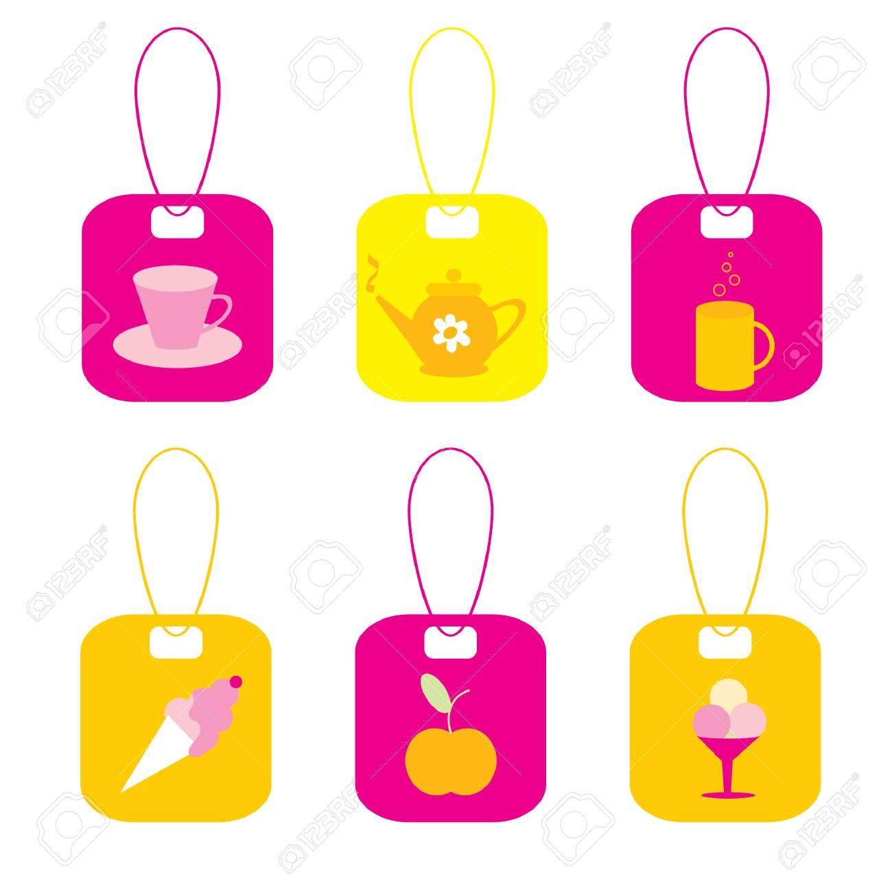The Set of the labels. The Elements of the design. Tea and dessert. Stock Vector - 6855744