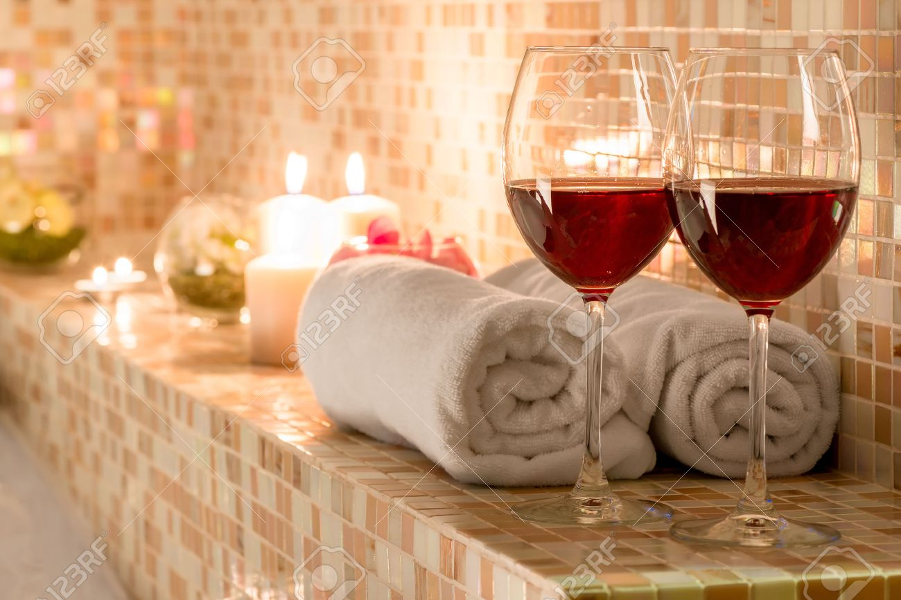 Romantic Decoration In The Bathroom For Loving Couples Stock Photo