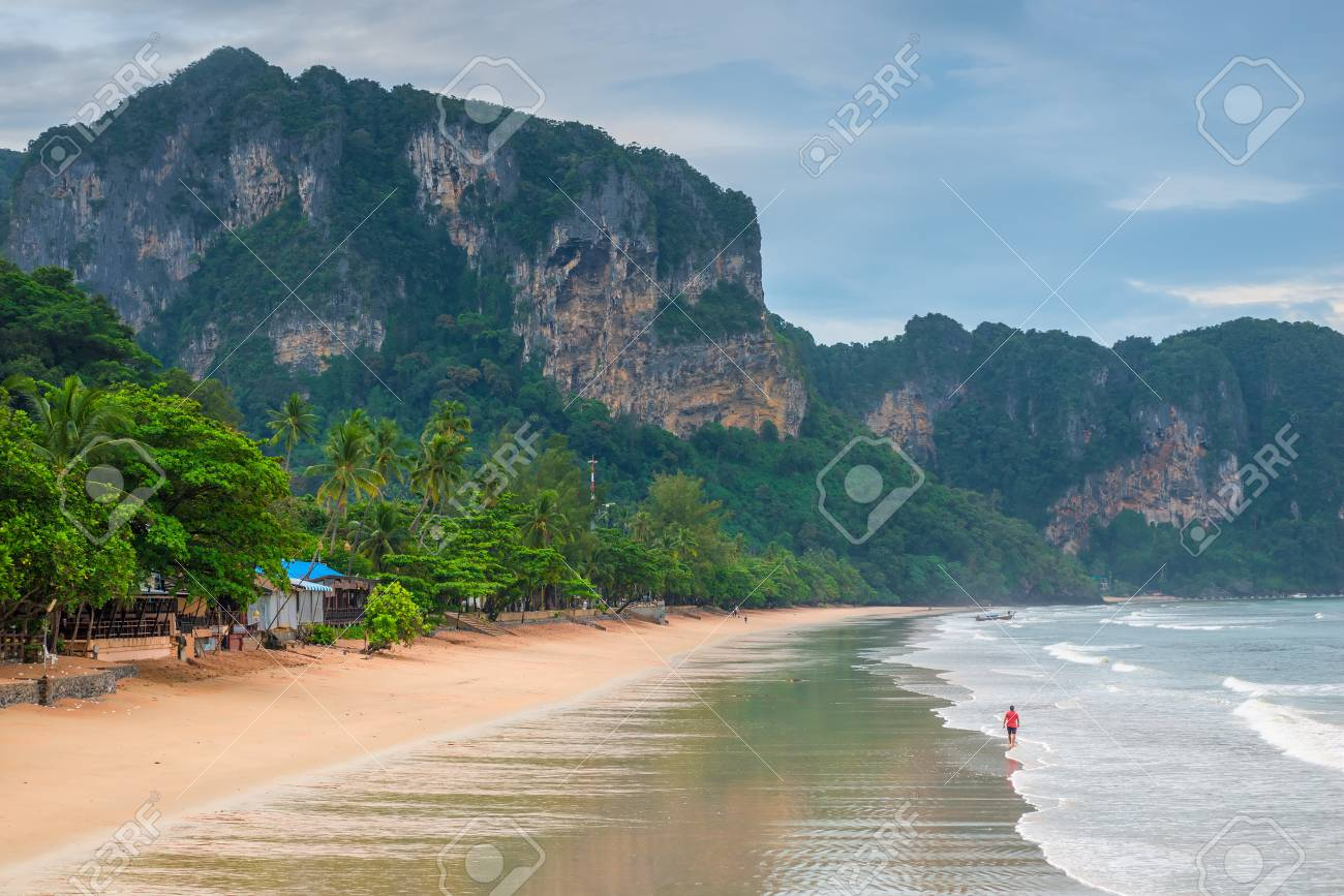 Low Tide On The Beach Of Ao Nang Krabi Thailand