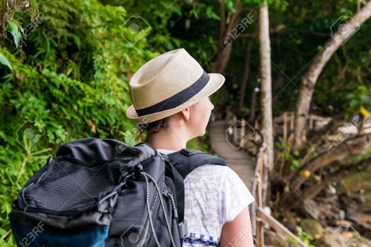 31a1826a25 Woman Hiker In Hike With A Big Backpack Back View Stock Photo ...