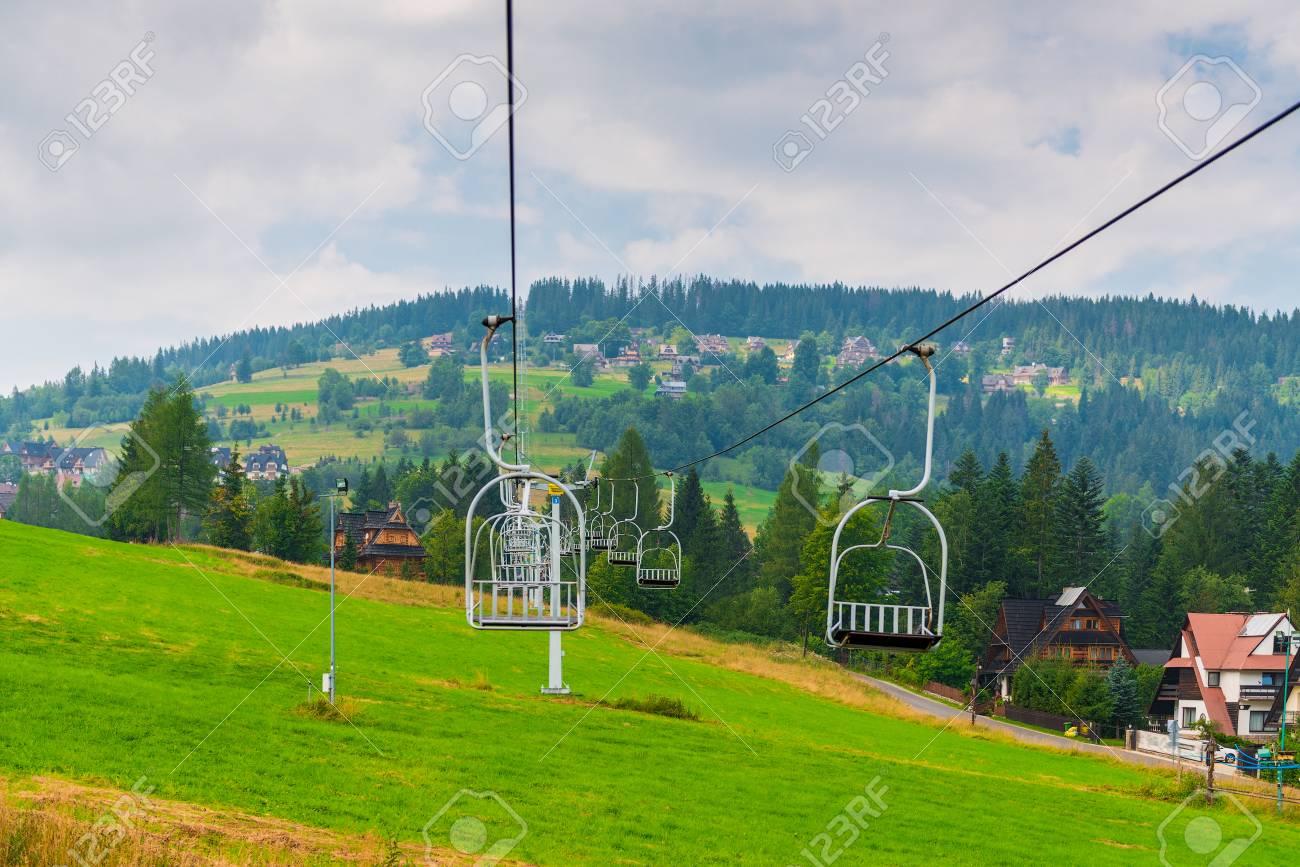 Seat Lift In The Mountain In Zakopane, Poland On A Summer Day Stock ...