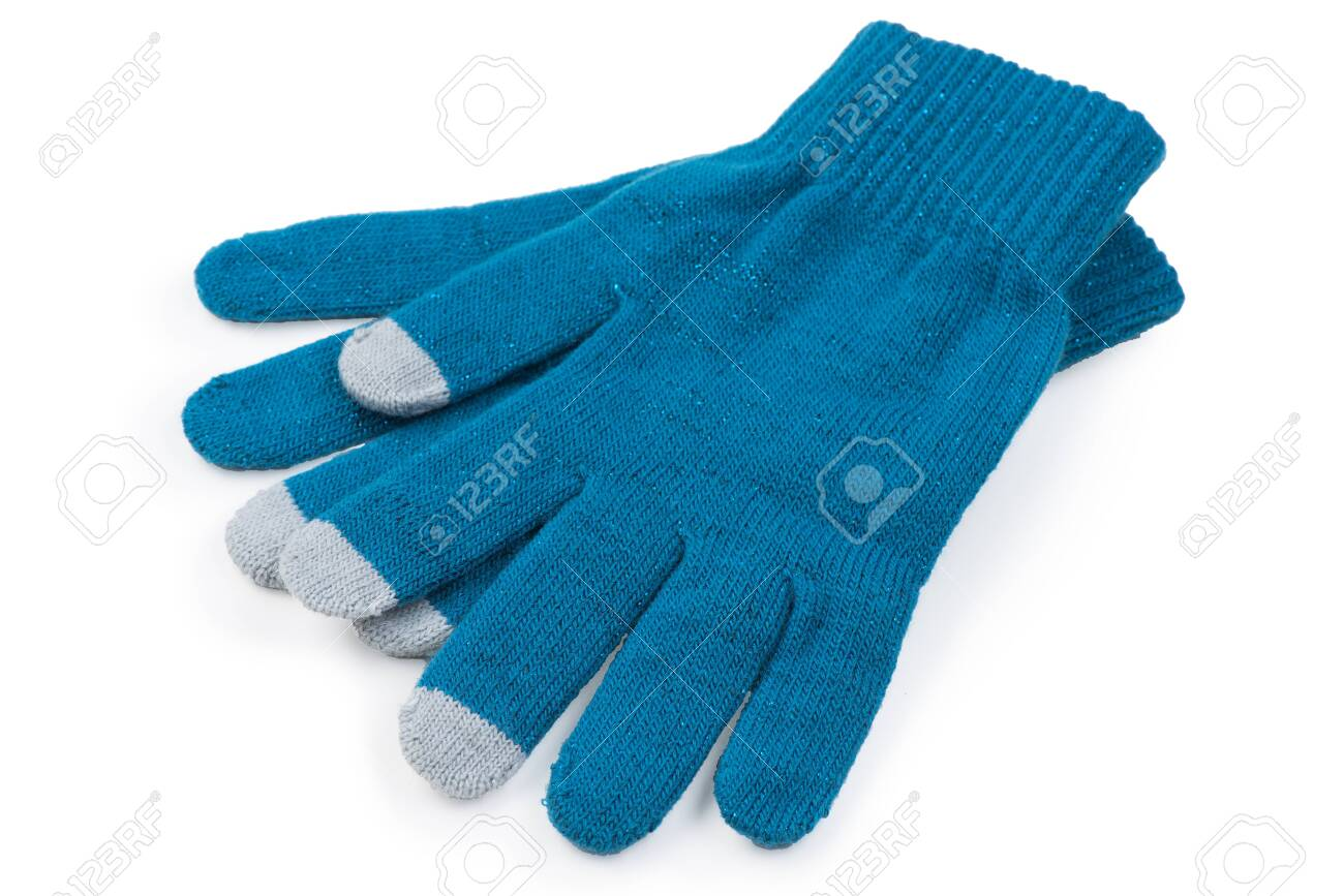 warm clothes on a white background knitted gloves on a white background is insulated - 135369679