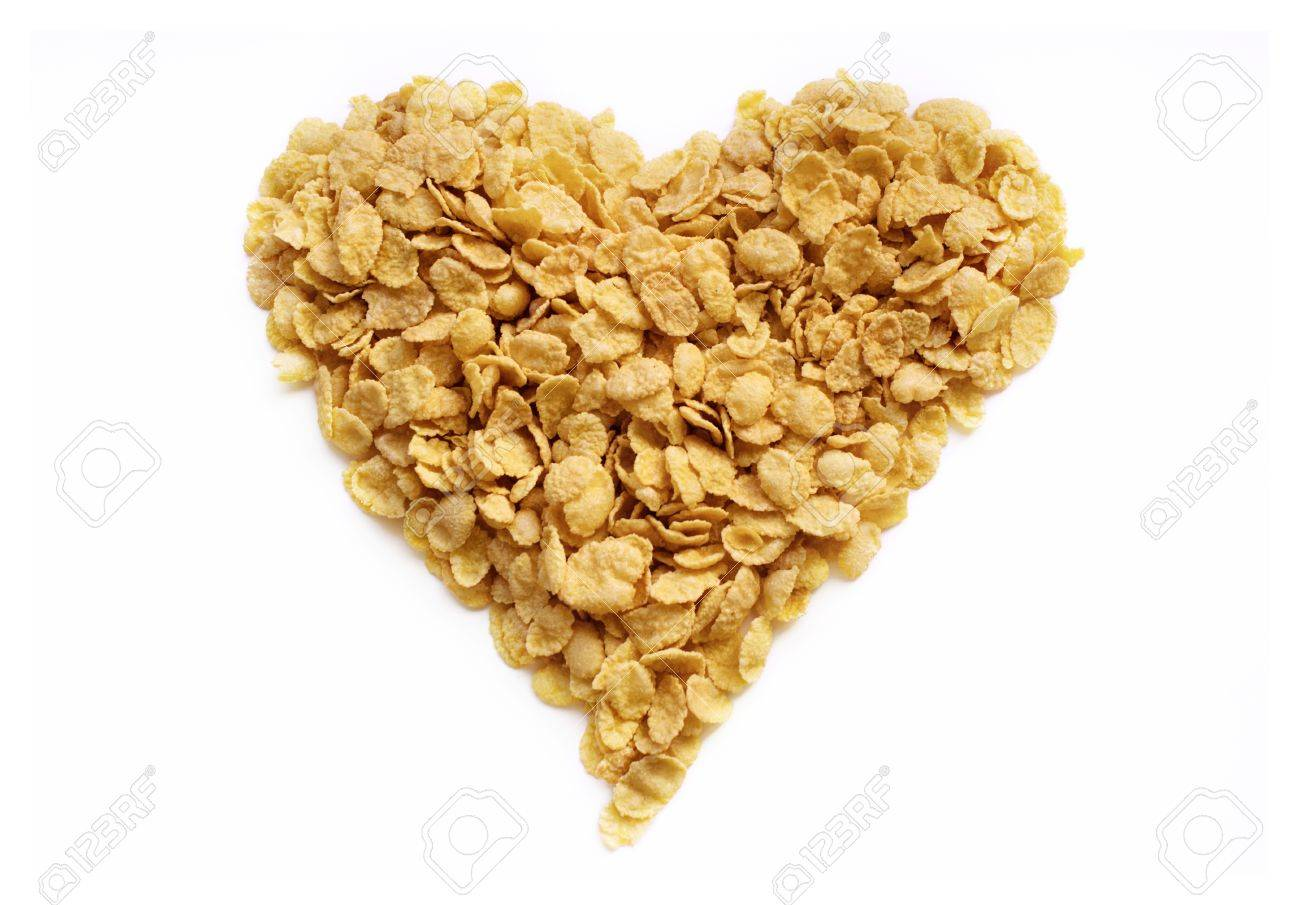 flakes heart from cornflakes for tasty  healthy breakfast Stock Photo - 17930861