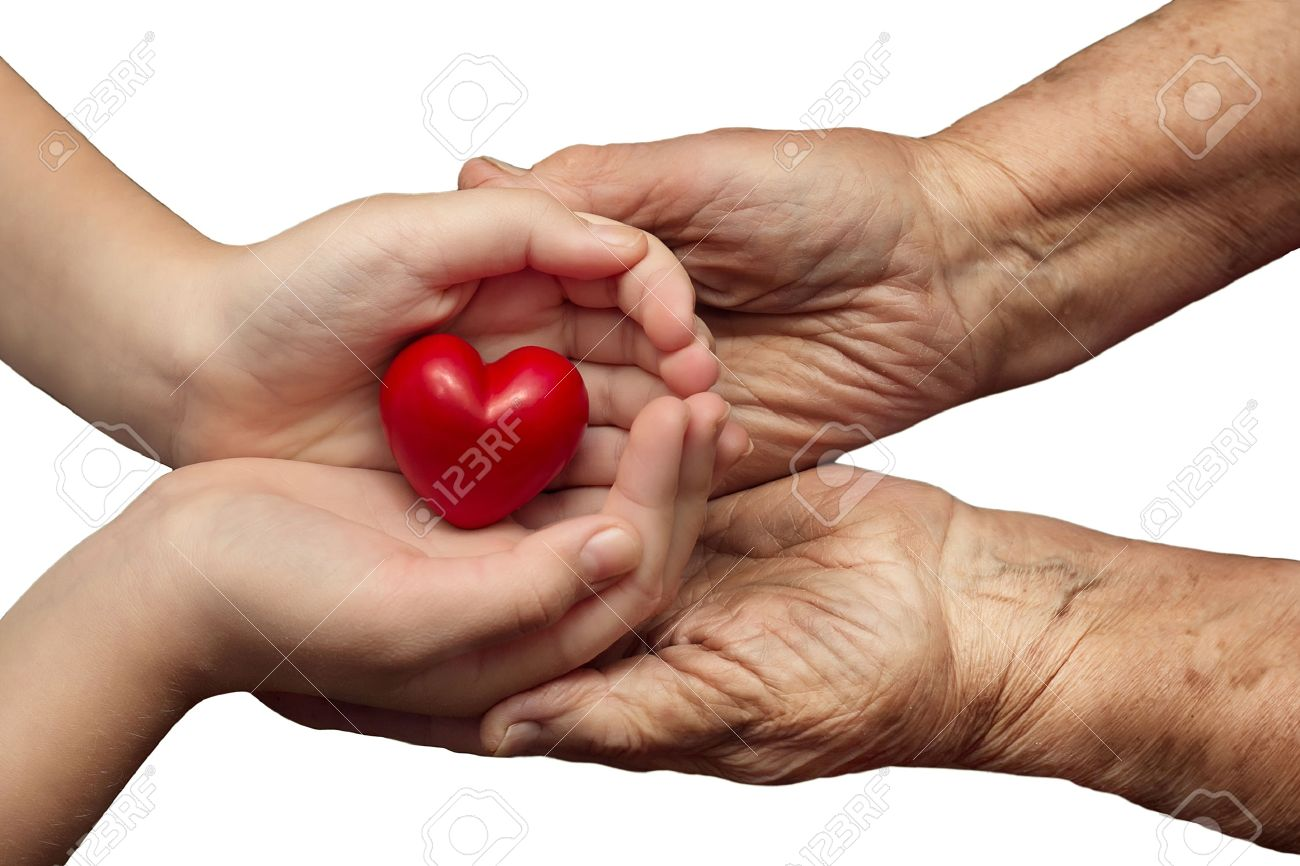 little girl and elderly woman keeping red heart in their palms together, isolated on white , symbol of care and love Stock Photo - 26019111