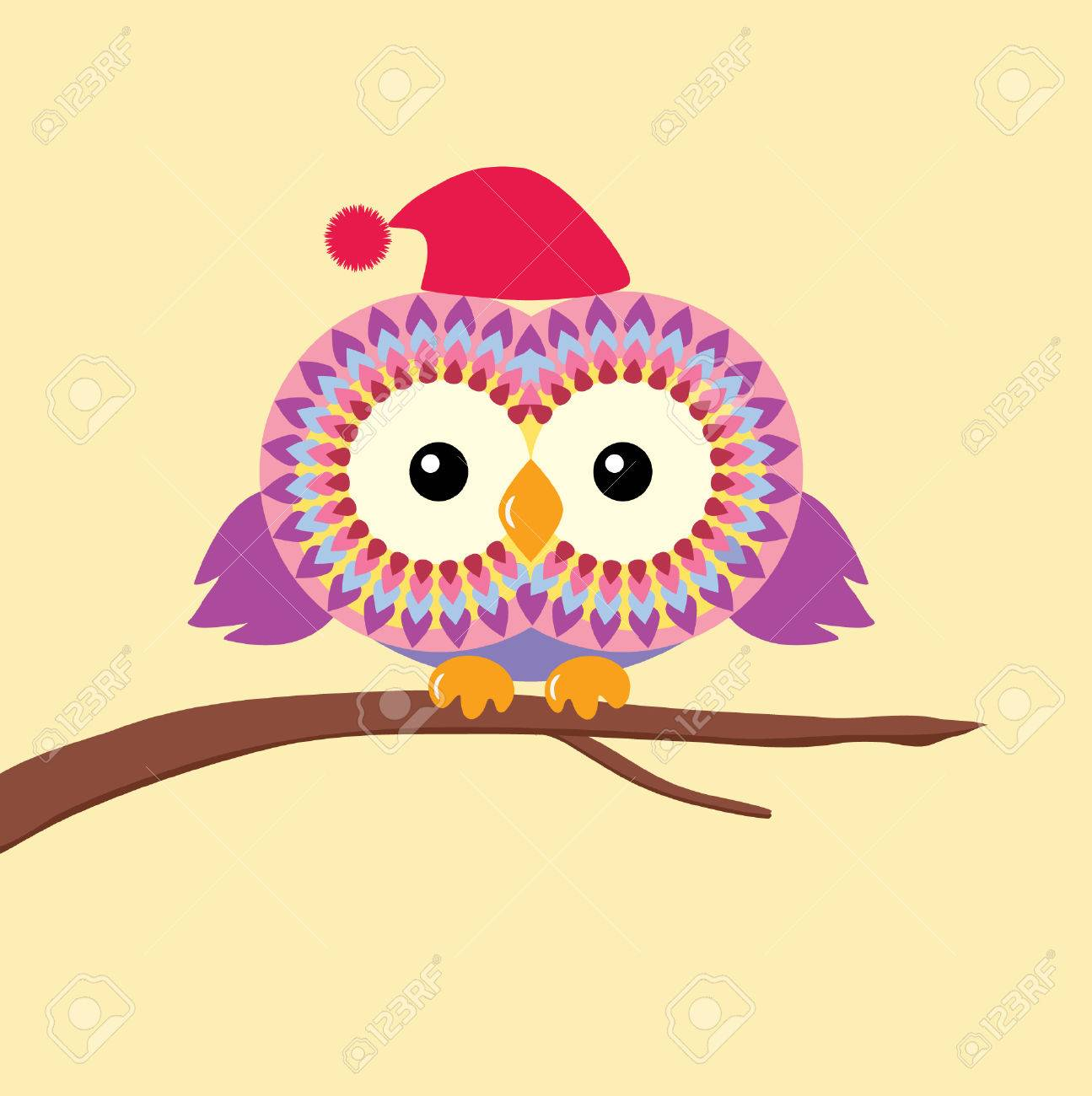 Cute cartoon owl sitting on a branch isolated on a white background Stock  Vector - 35285371 f74250ec2638