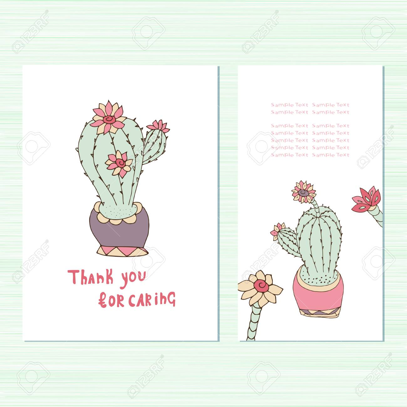 cactus template in doodle sketch style royalty free cliparts