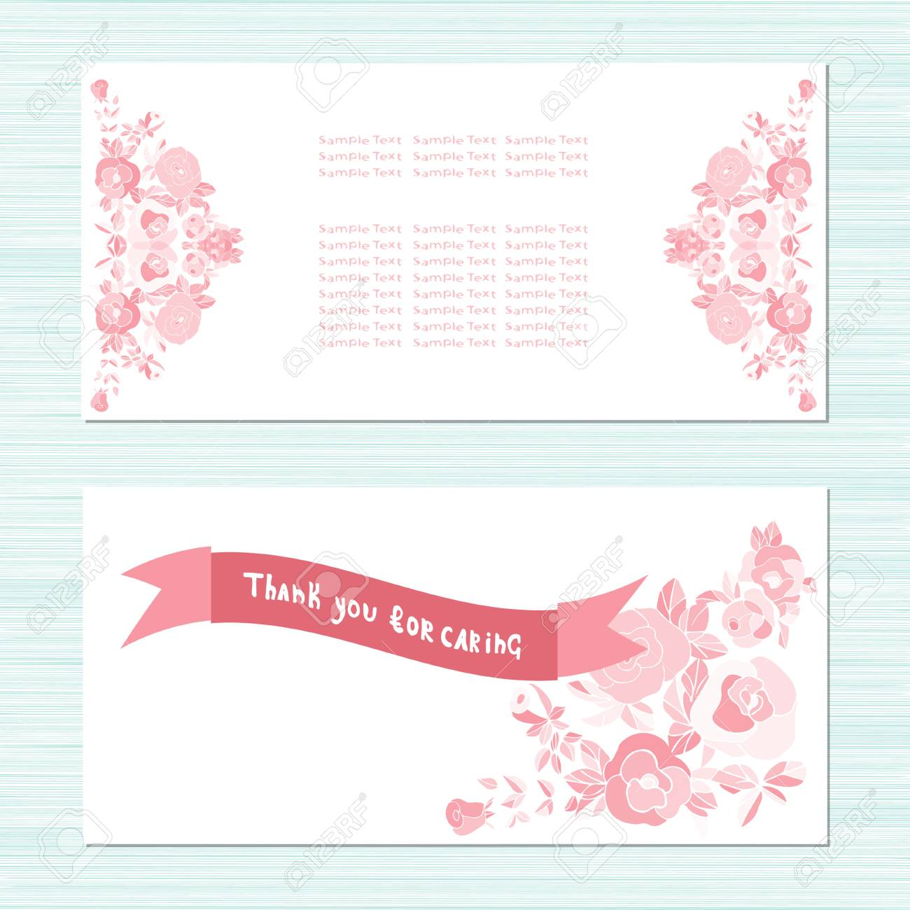 Pink Roses Card For Anniversary Birthday Invitation Template