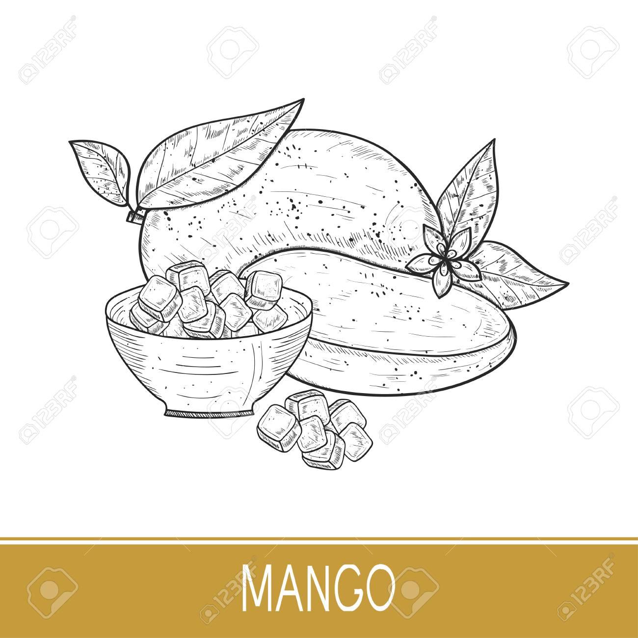 Mango a whole fruit a piece a slice a flower bowl