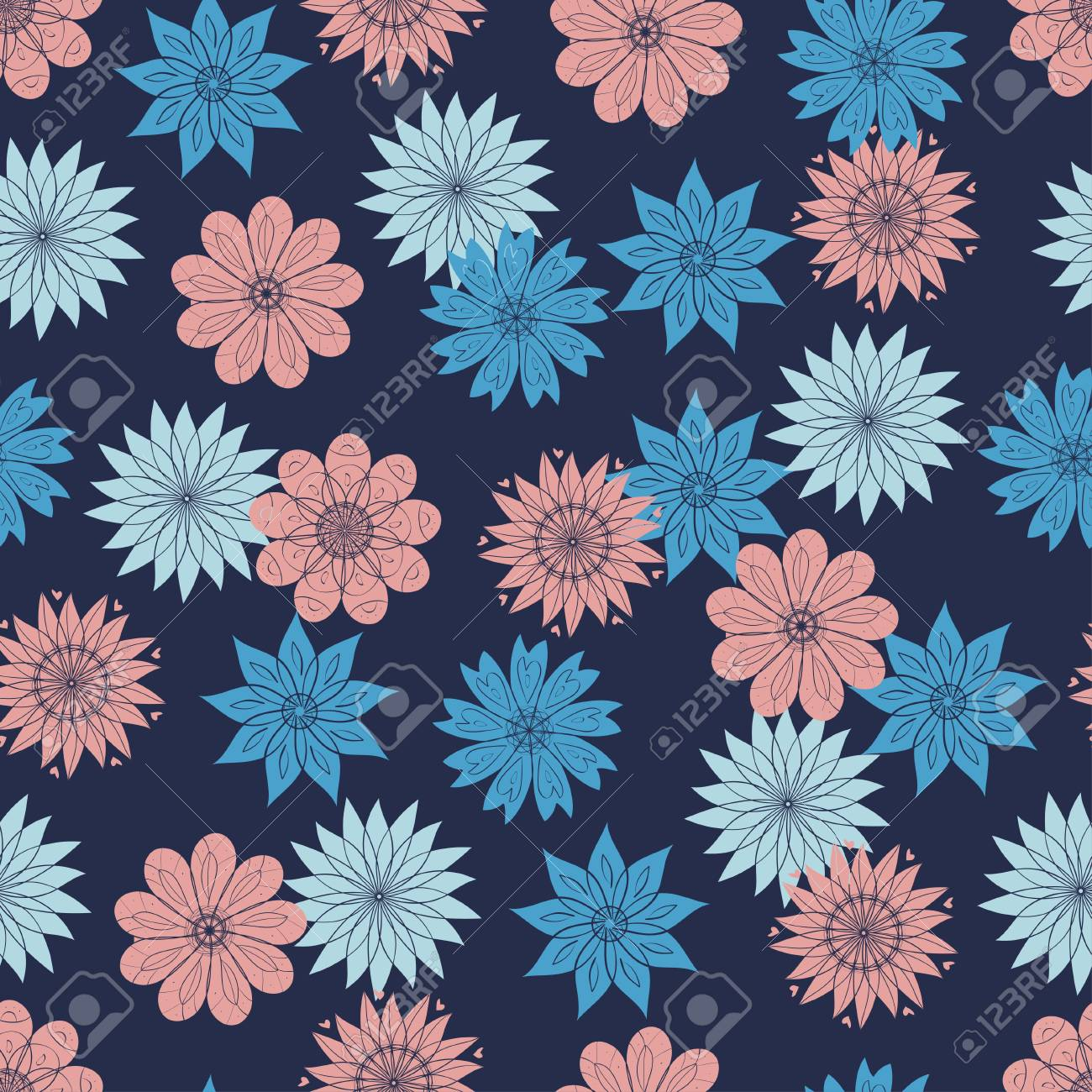 Flowers On A Blue Background Wallpaper Seamless Doodle Simple Royalty Free Cliparts Vectors And Stock Illustration Image 113562701