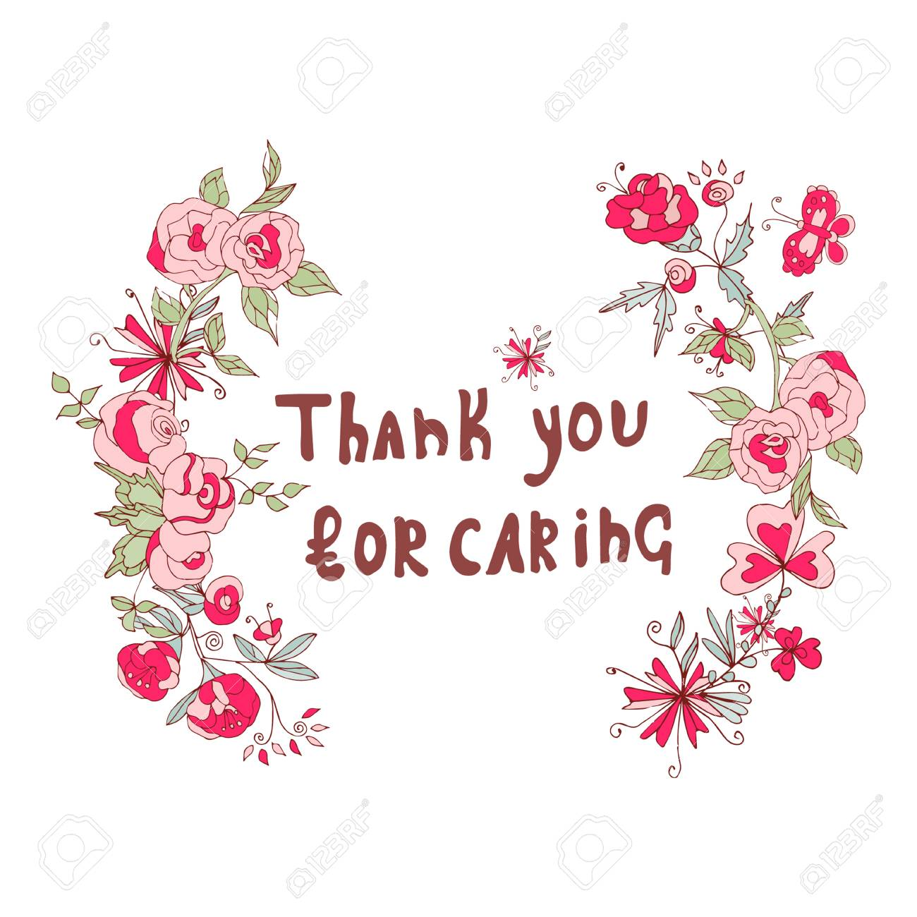 Thank You For Caring Text Citation Frame Of Pink Flowers Sketch