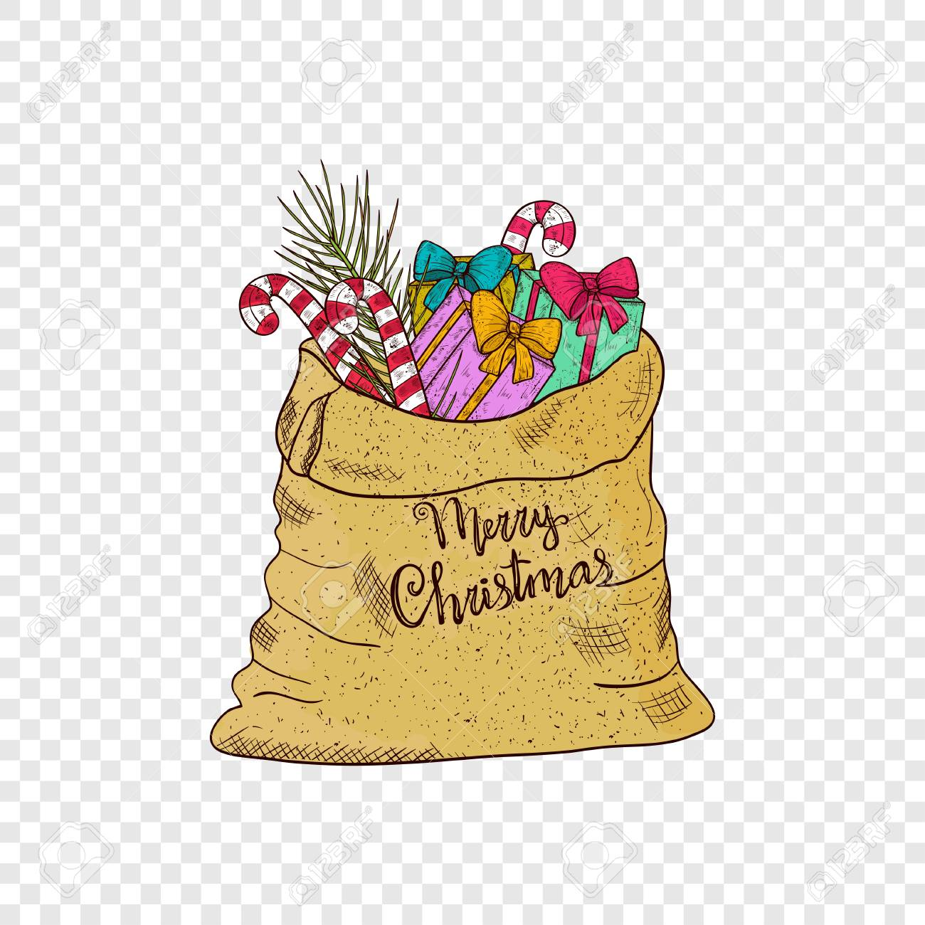 Sack Gifts Candy Pine Branch Christmas New Year Sketch