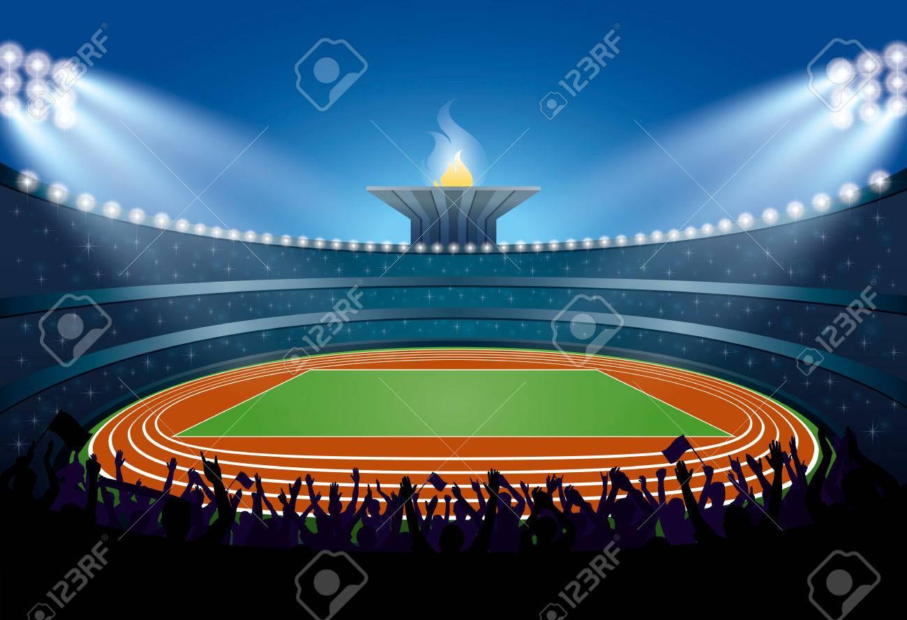 陸上競技場は人の観衆を興奮させた陸上競技場トーチの背景に式典イベント選手ベクトル図