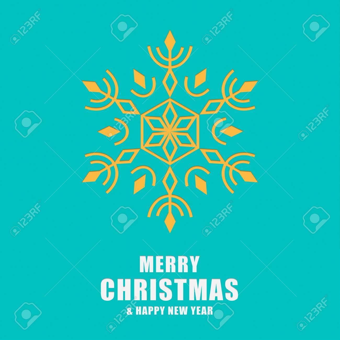 Navidad Y Tarjeta De Felicitación De Año Nuevo. Copos De Nieve ...