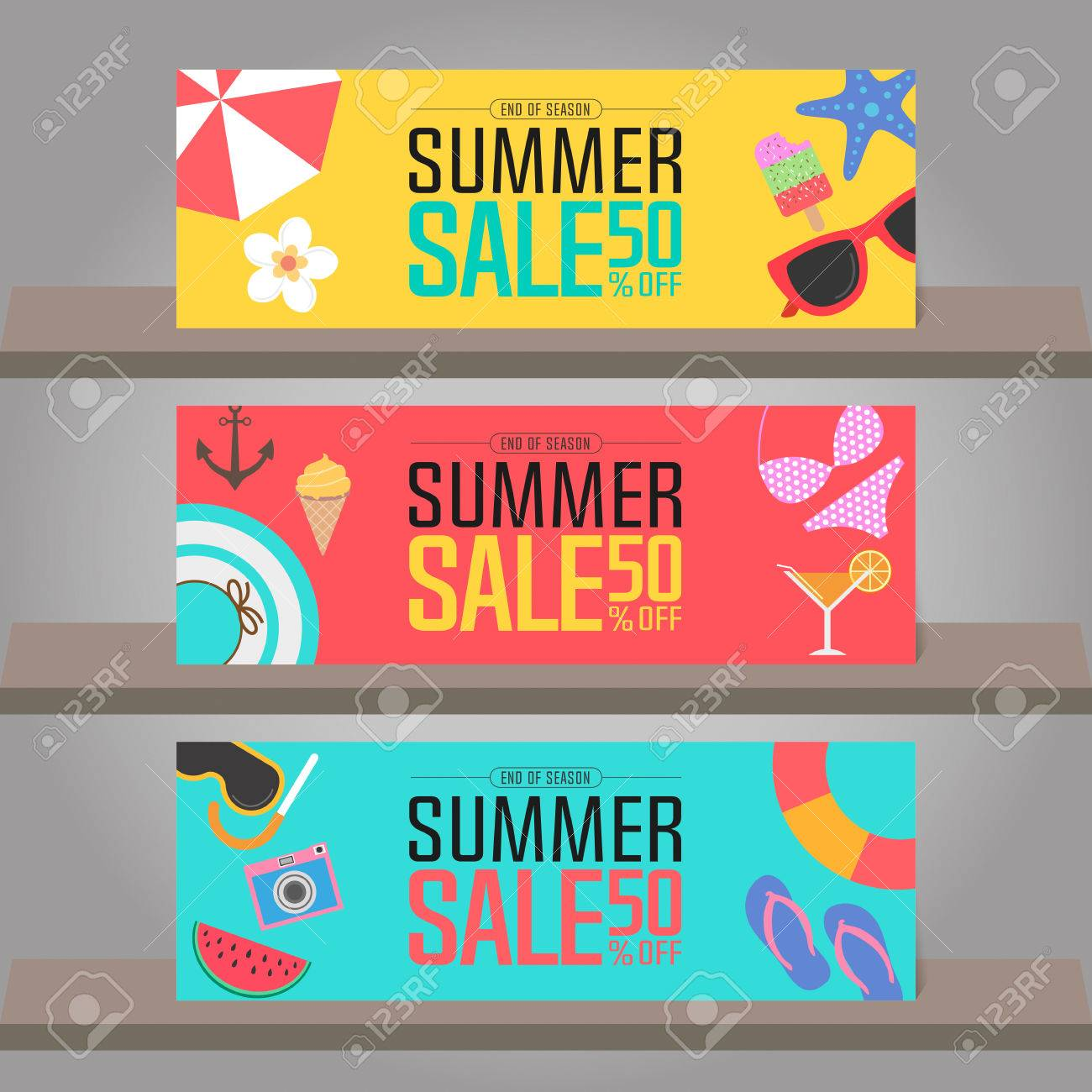 Summer sale background for banner poster brochure flyer voucher imagens summer sale background for banner poster brochure flyer voucher discount invitation card backdrop and template design vector illustration stopboris Gallery