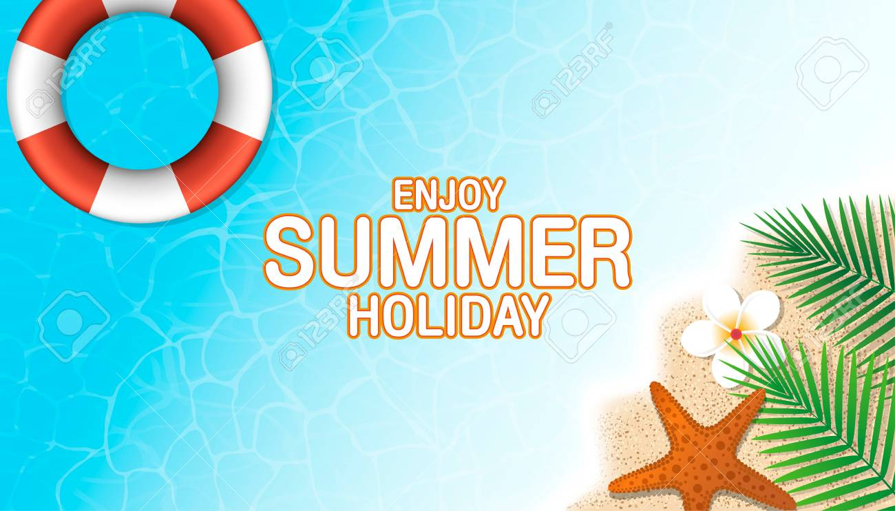 Enjoy Summer Holiday Background Top View Of Lifebuoy Starfish Flower And Leaf On