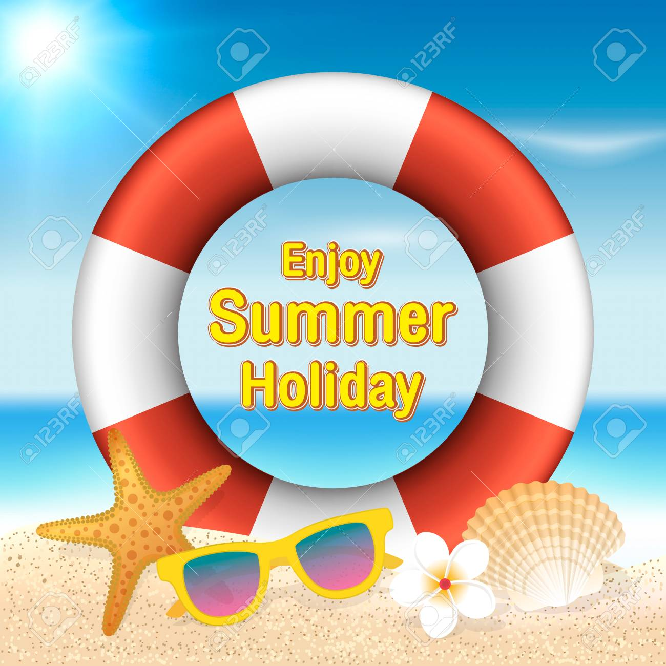 Enjoy Summer Holiday Background Lifebuoy Sunglasses Starfish Shell And Flower On