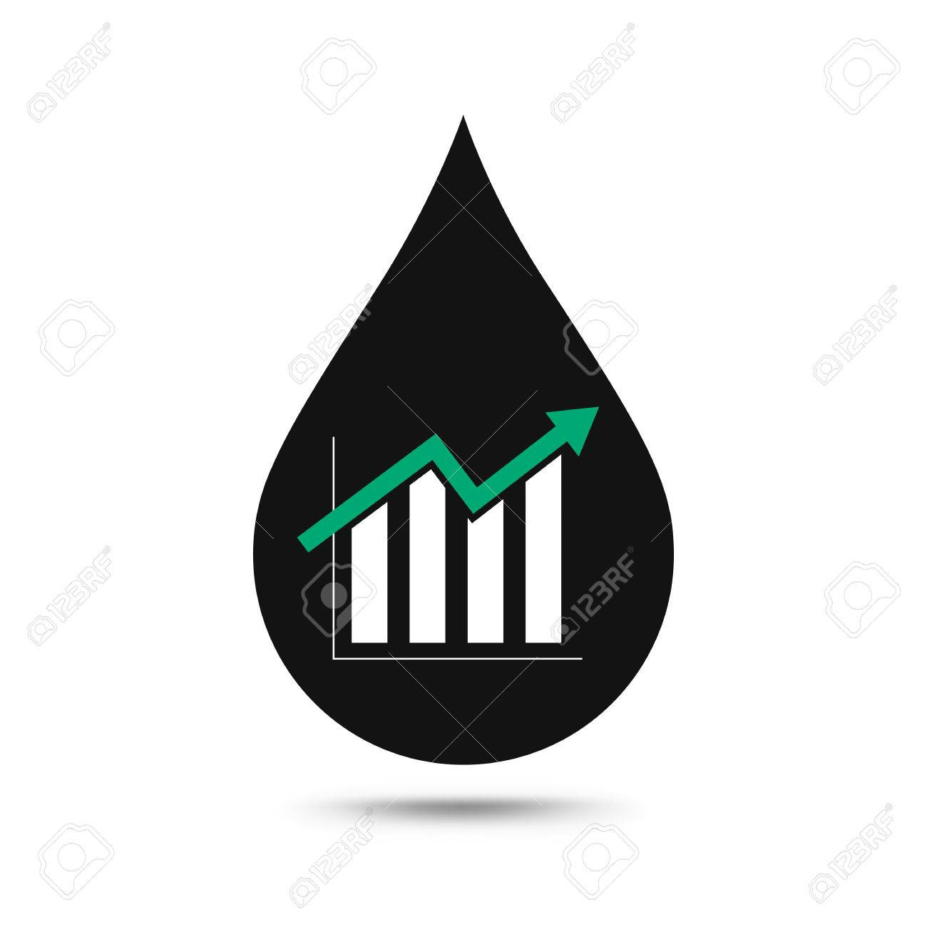 Oil Industry Concept Oil Price Growing Up Graph With Oil Drop