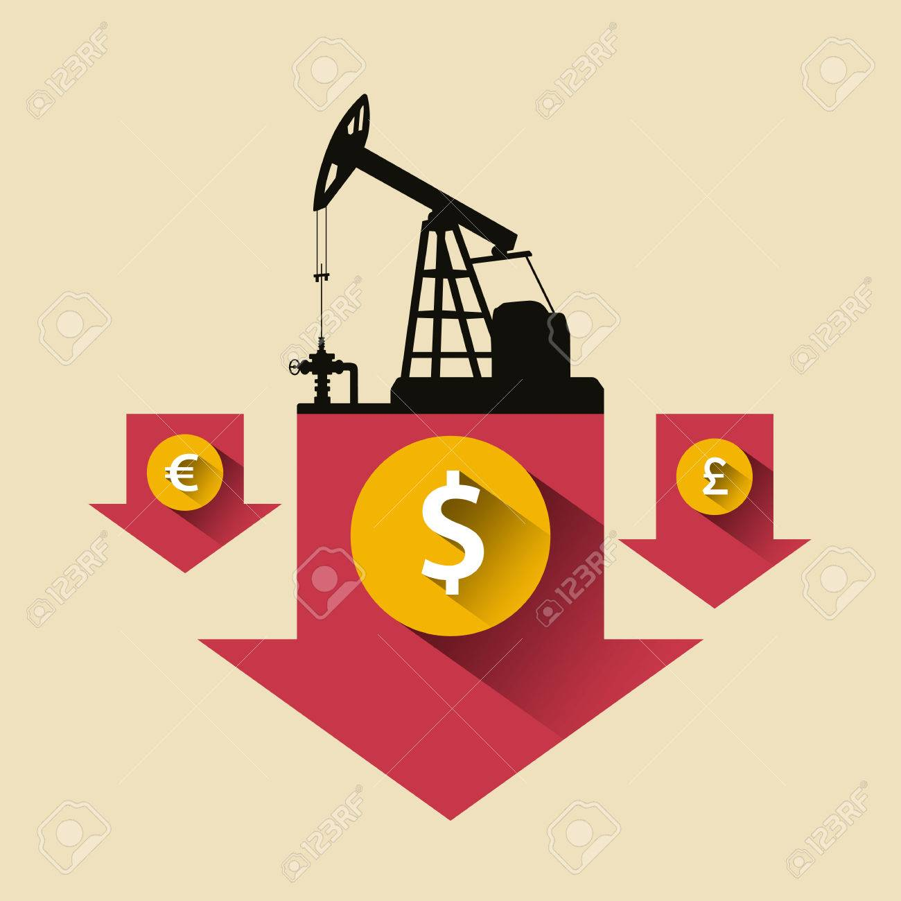 Oil Industry Concept Oil Price Falling Down Arrow With Petroleum