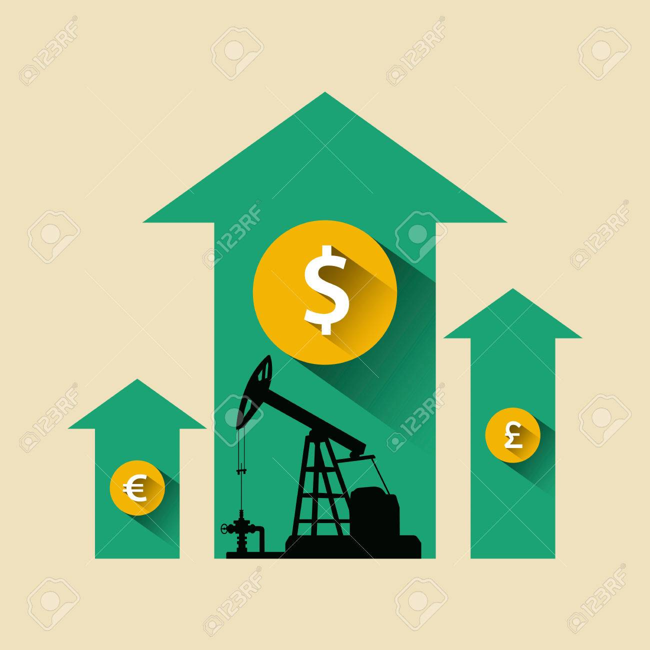 Oil Industry Concept Oil Price Growing Up Arrow With Petroleum