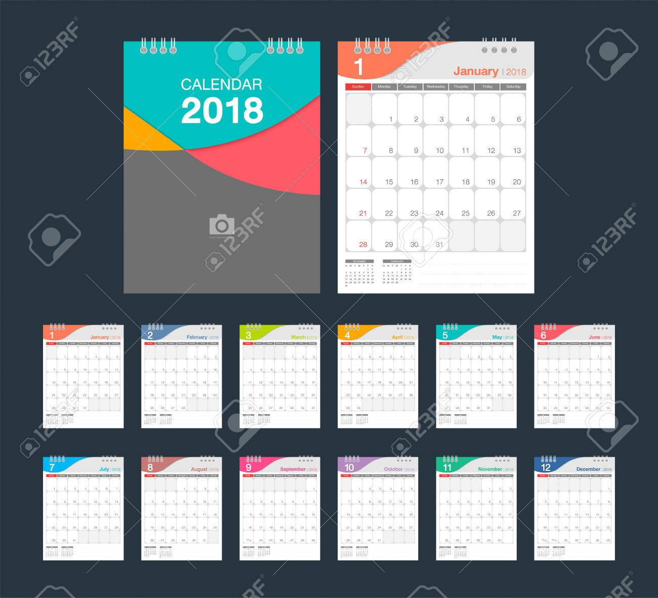 2018 calendar desk calendar modern design template with place for photo week starts sunday