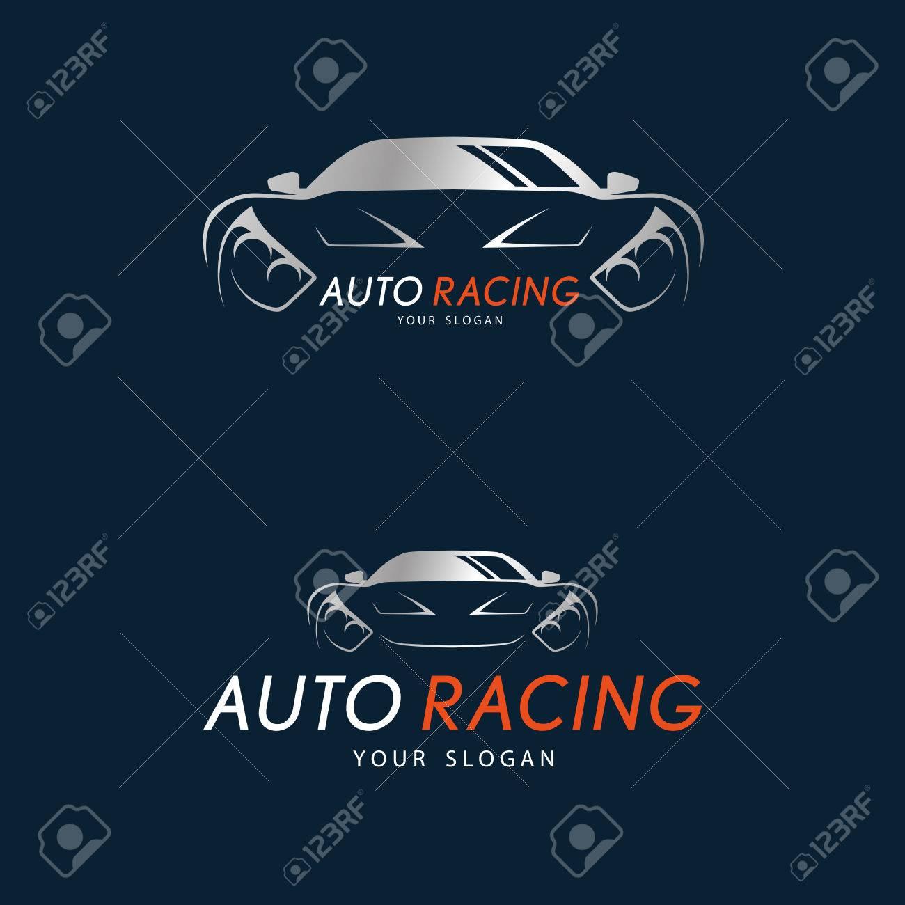 Auto Racing Symbol On Dark Blue Background Silver Sport Car