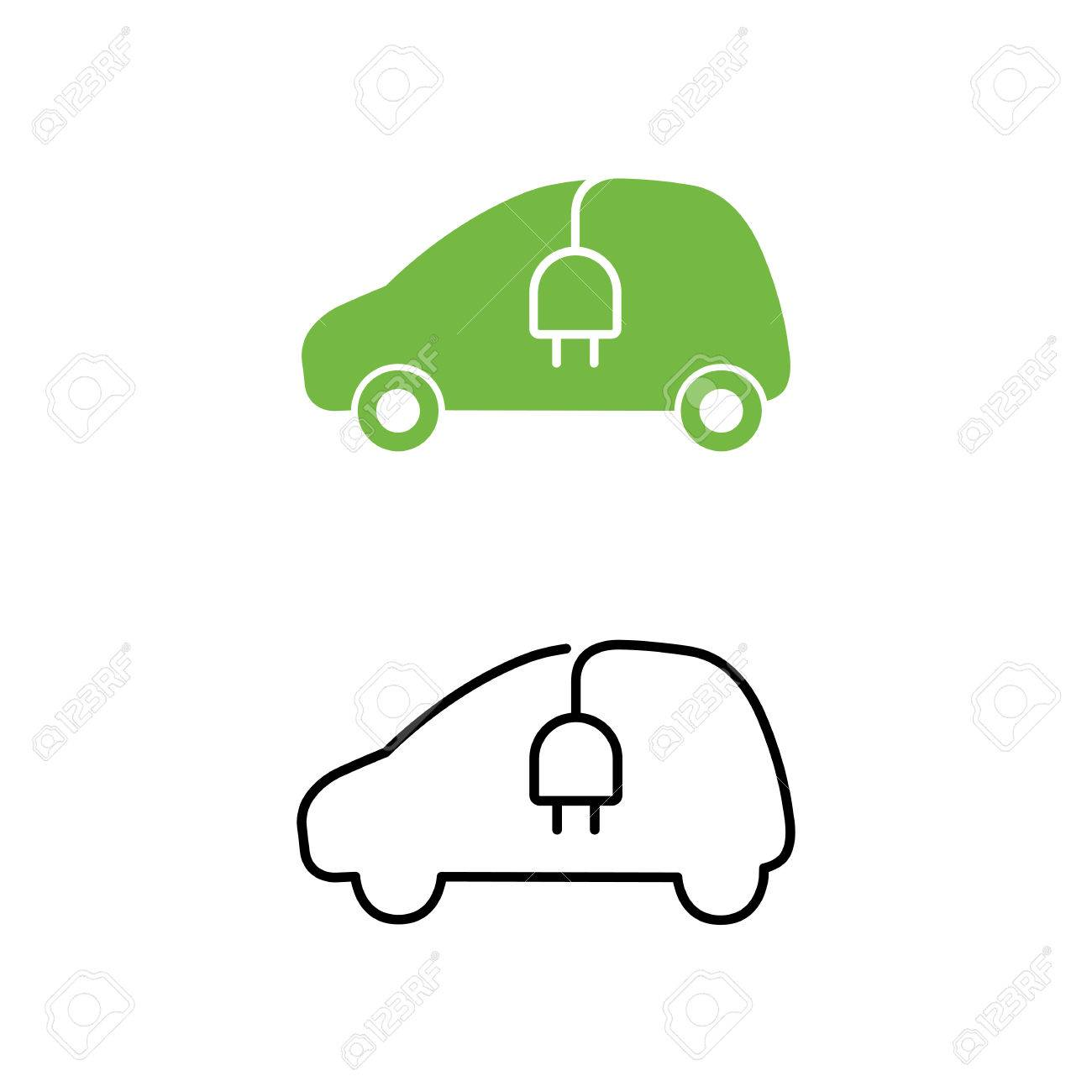 Electric Car With Electrical Charging Cable Icon. Hybrid Vehicle ...