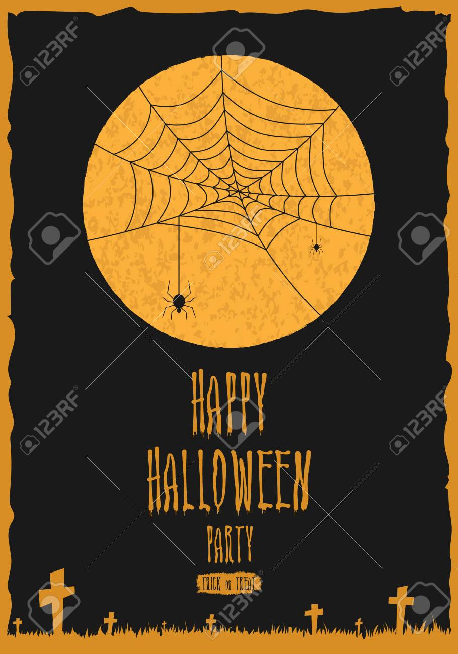 Happy halloween party poster banner or greeting card halloween happy halloween party poster banner or greeting card halloween night background with full moon m4hsunfo
