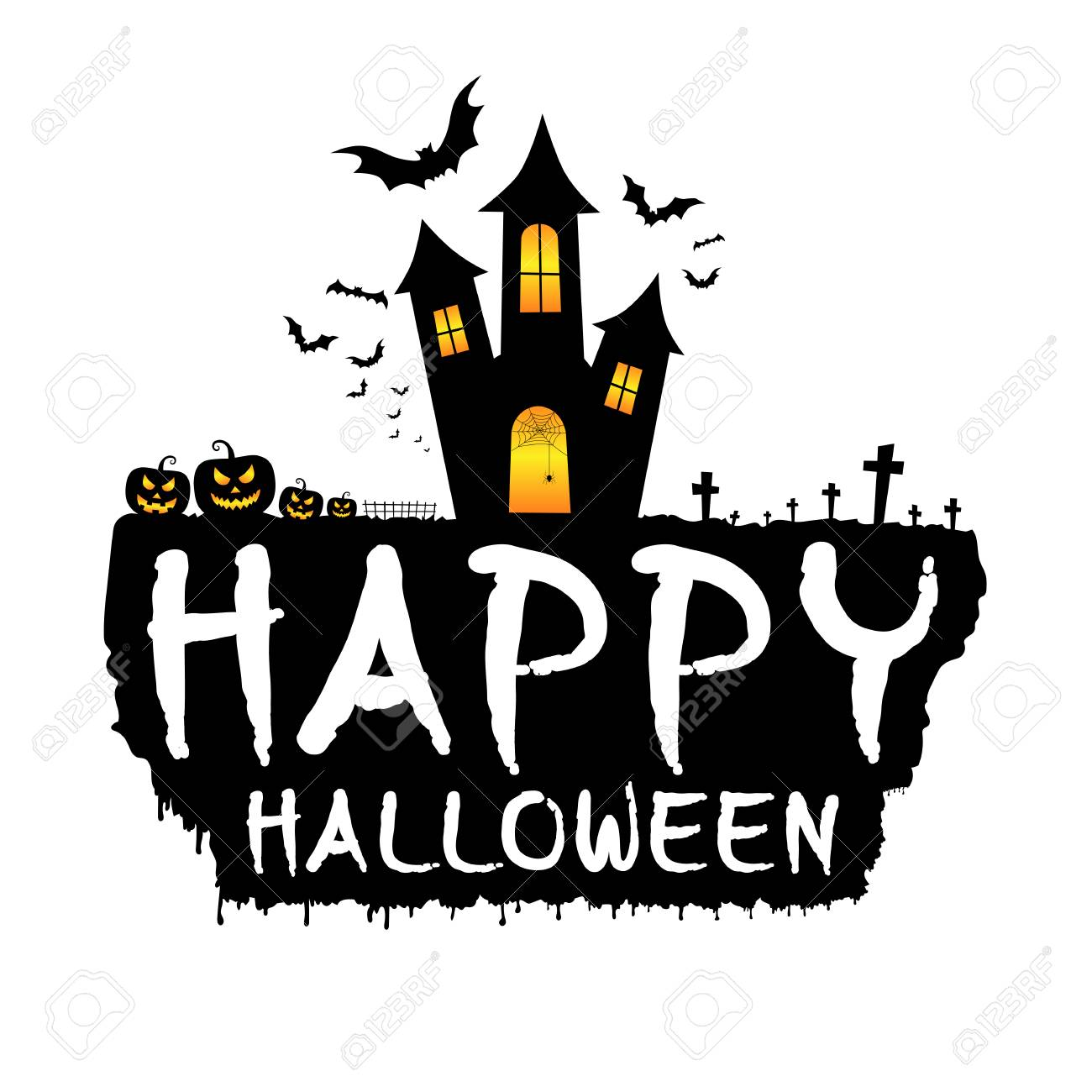 Happy halloween with dark castle scary pumpkins bats and graveyard happy halloween with dark castle scary pumpkins bats and graveyard happy halloween template maxwellsz