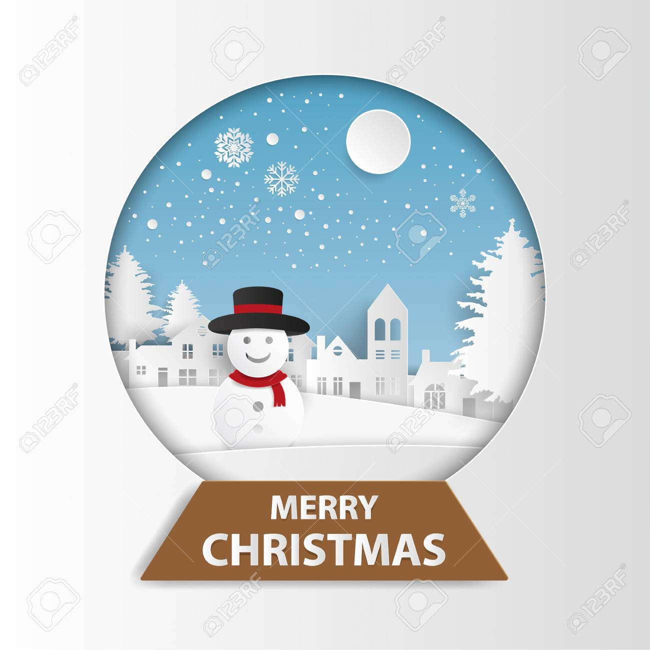 Joyeux Noël Et Bonne Année Carte De Voeux. Bonhomme De Neige Dans