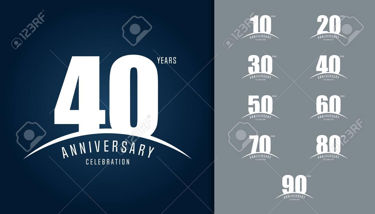 Set of anniversary logotype. Anniversary celebration design template for booklet, leaflet, magazine, brochure poster, web, invitation or greeting card. Vector illustration. - 97551633