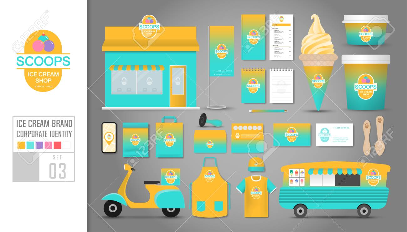 Corporate identity template Set 3  Logo concept for ice cream