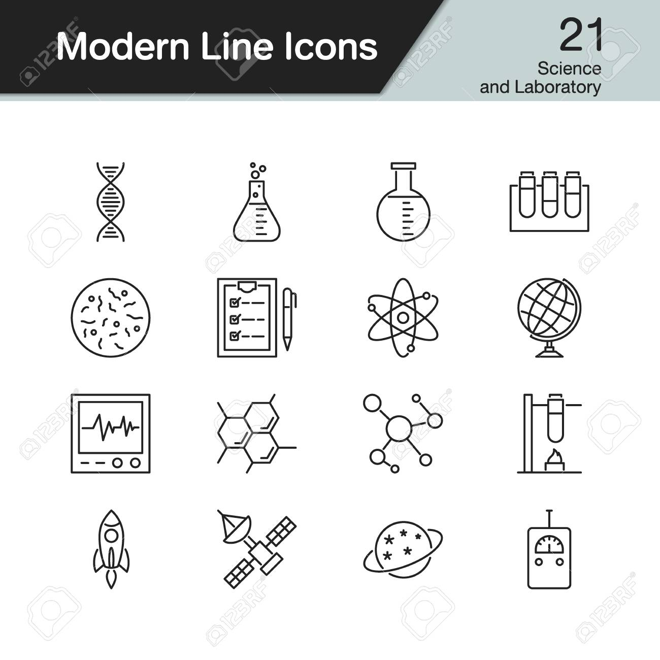 science and laboratory icons modern line design set 21 for