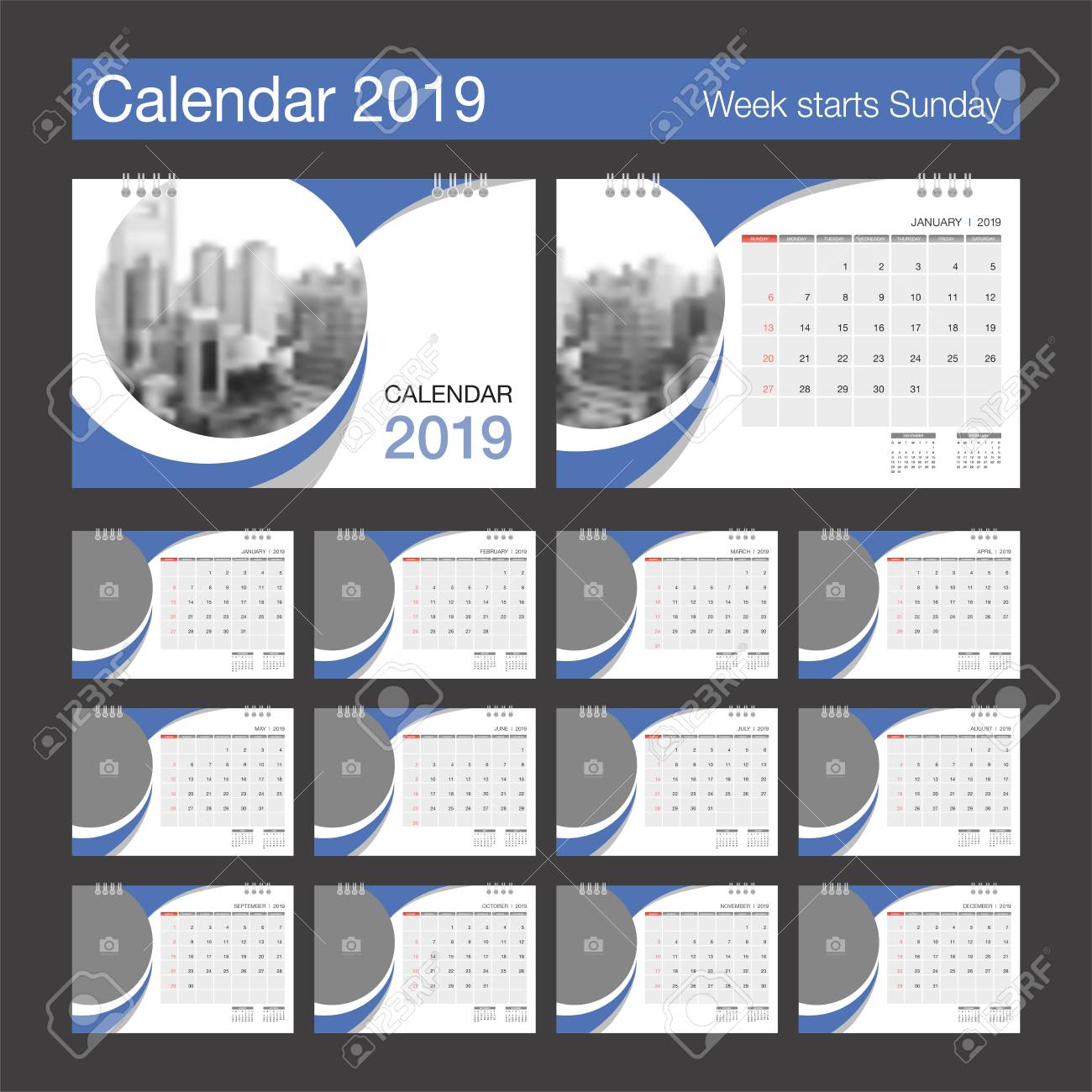 2019 Calendar Desk Calendar Modern Design Template With Place