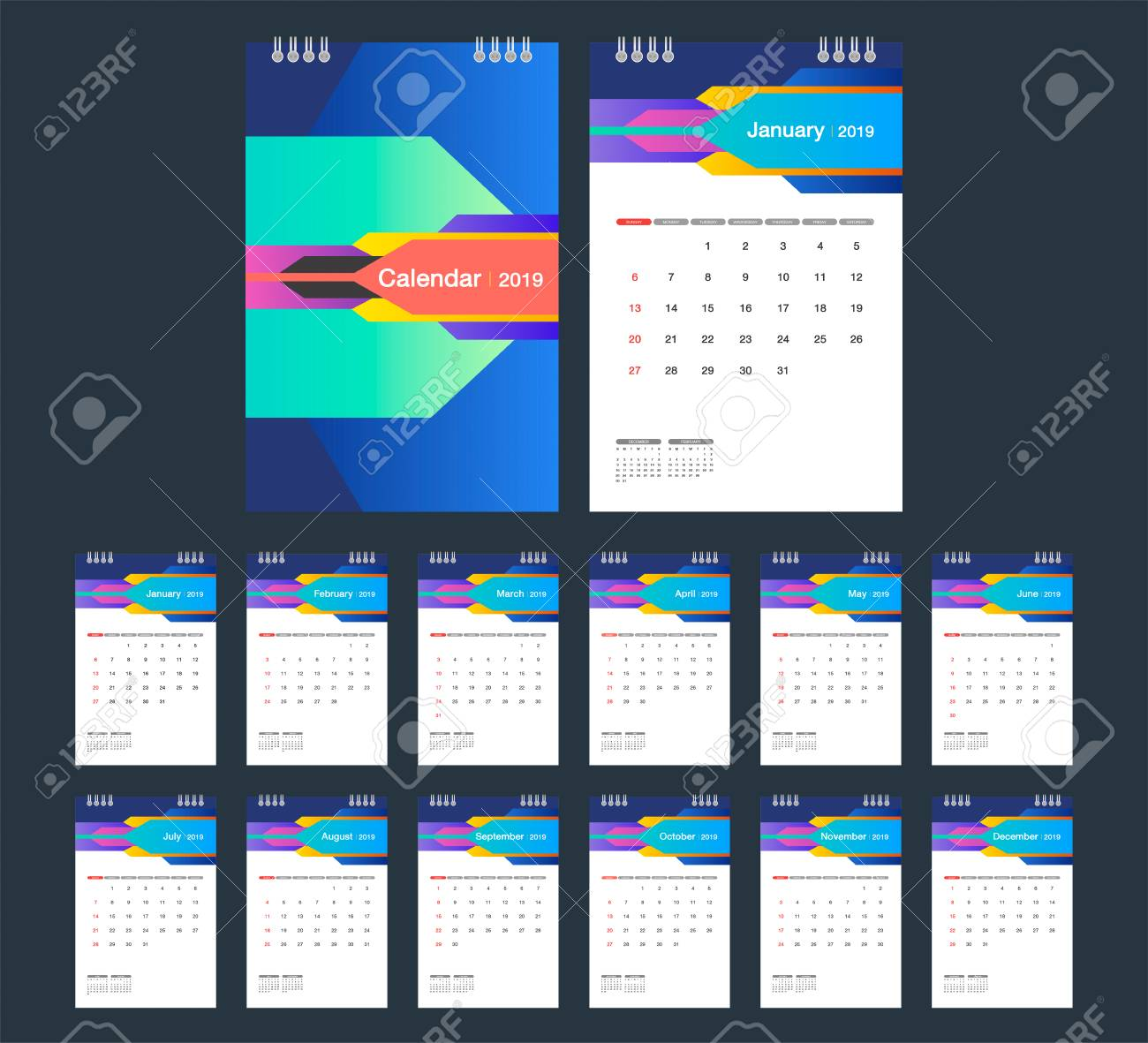 2019 Colorful Calendar Desk Calendar Modern Design Template
