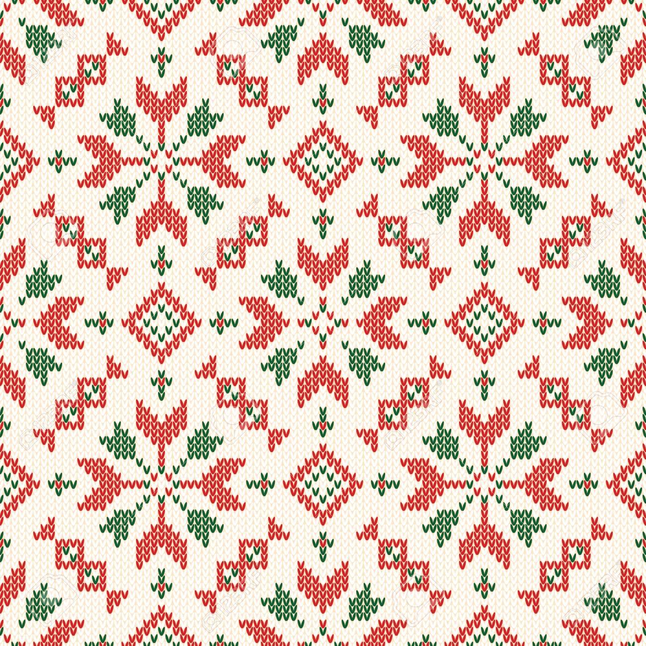 Christmas Knitted Pattern Winter Geometric Seamless Pattern