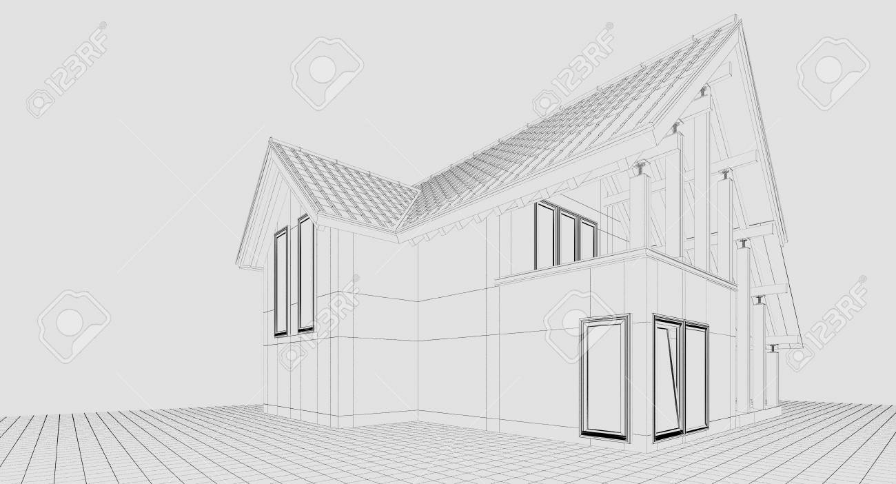 3d Rendering A Small Country House Illustration Of A Two Storey