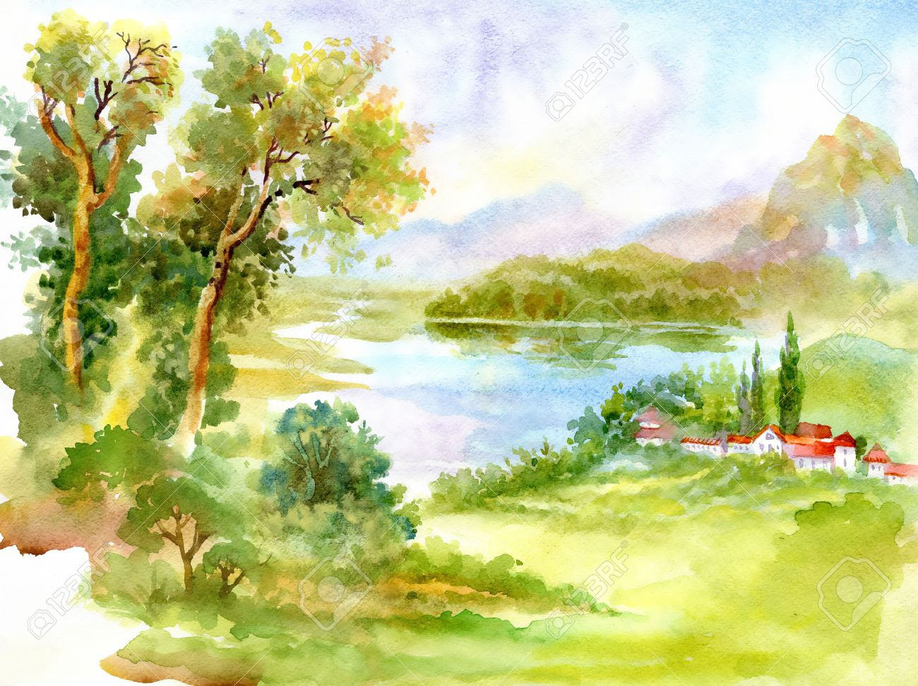 Watercolor River Nature Landscape Stock Photo, Picture And Royalty ...