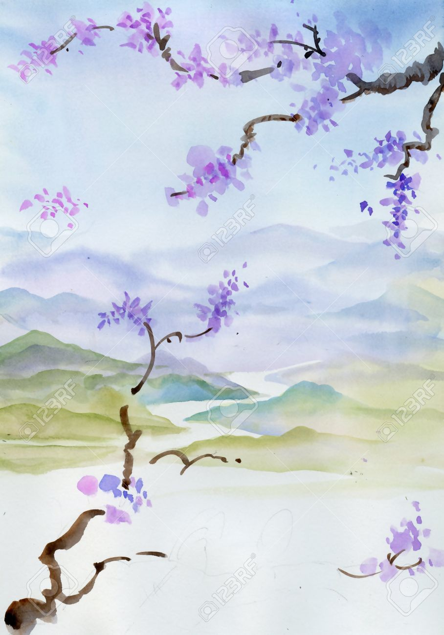 Cherry blossom Chinese painting - 35593078