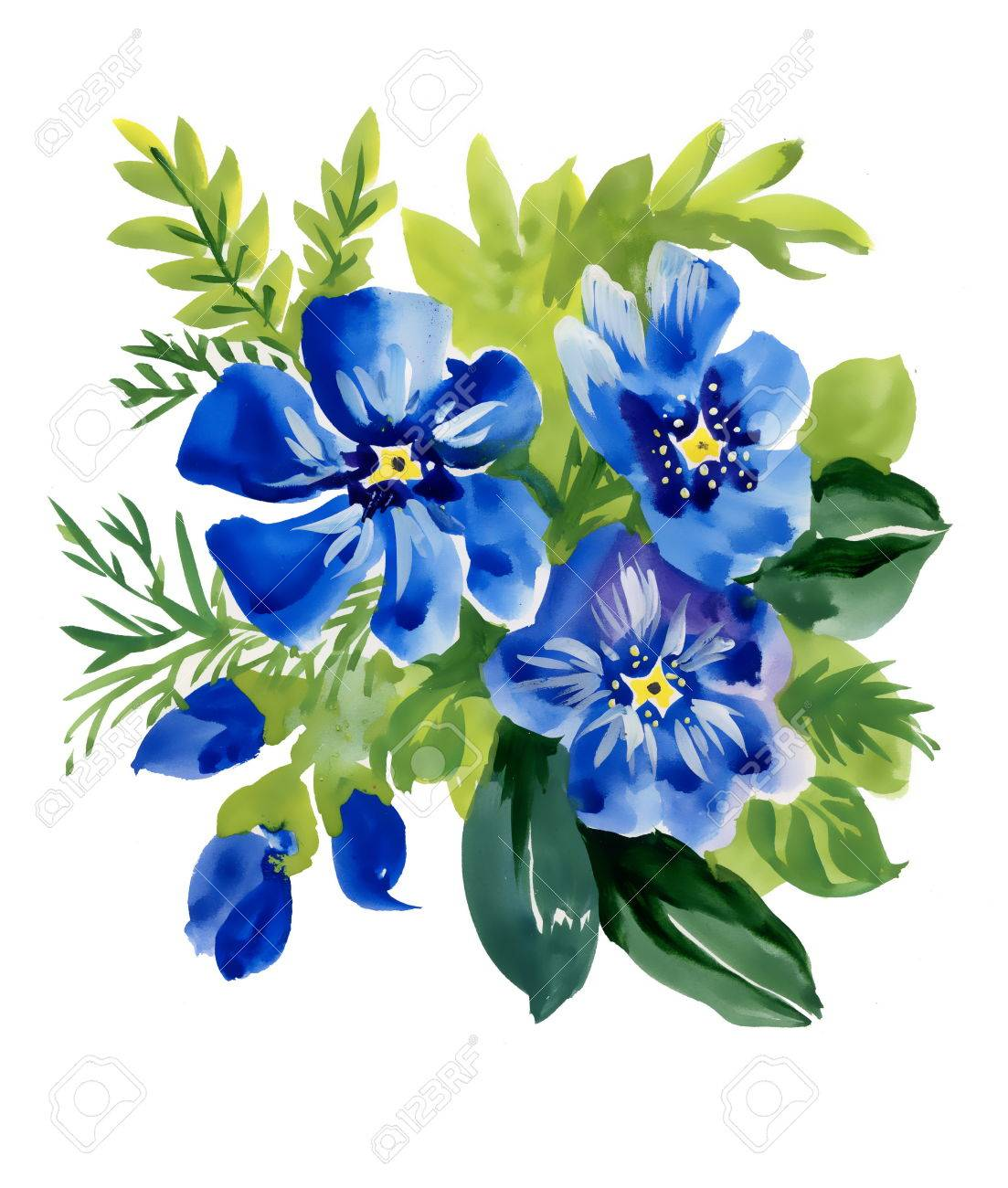 Beautiful Watercolor Blue Flowers Illustration On White Background