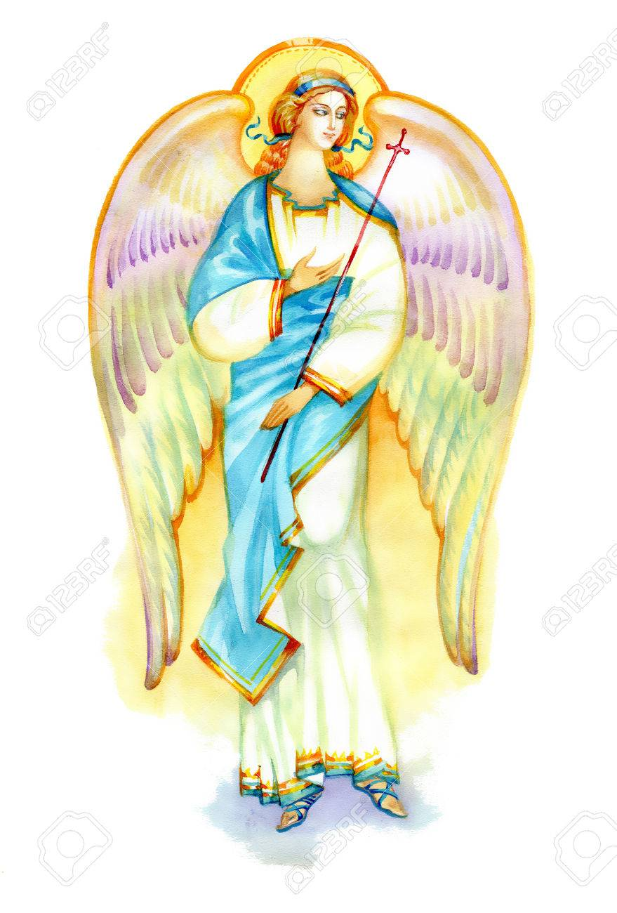 Beautiful angel with wings on white background - 37676504