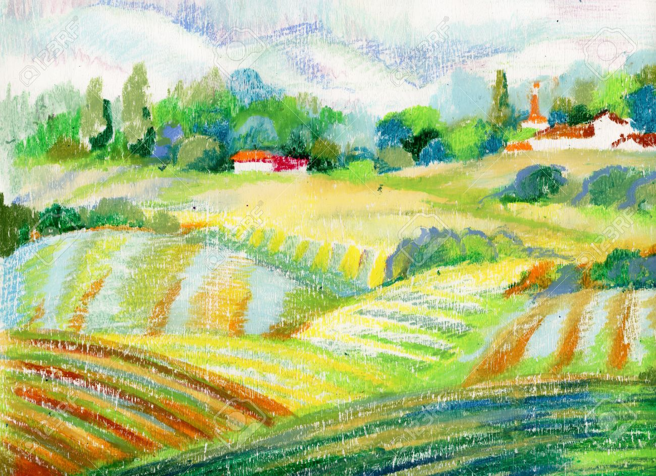 Hand painted pastel countryside landscape - 37720511
