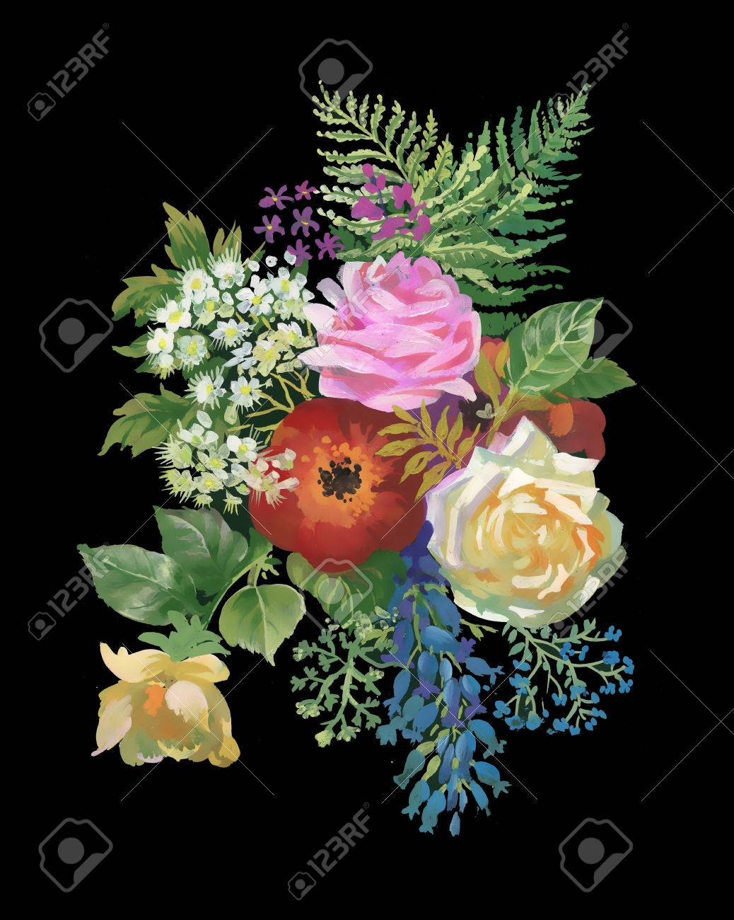 Watercolor Flowers Bouquet On Black Background Royalty Free