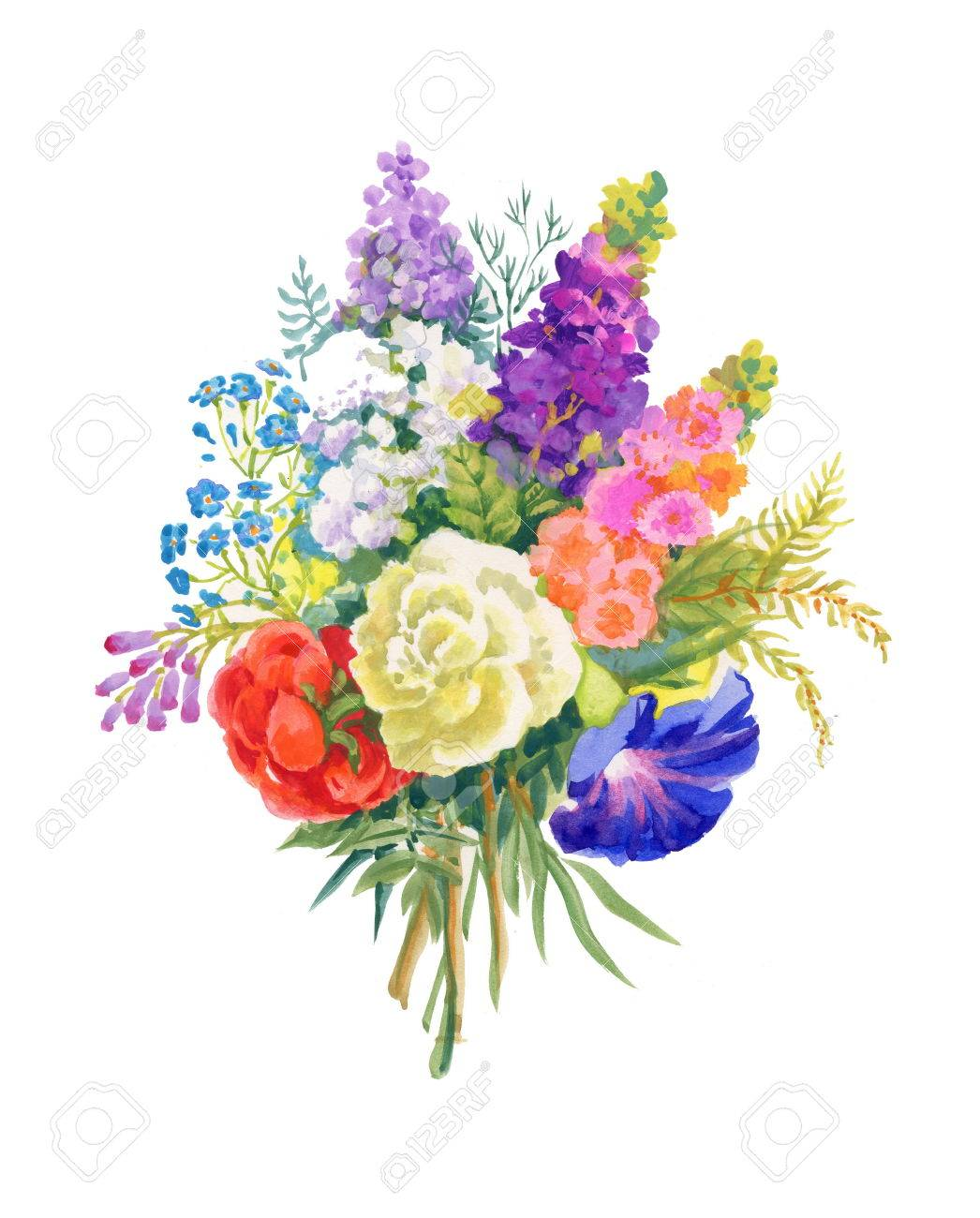 Watercolor Flowers Bouquet On White Background Royalty Free