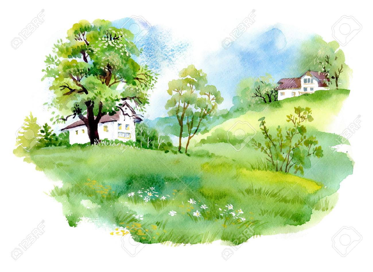 landscape with houses watercolor illustration royalty free cliparts