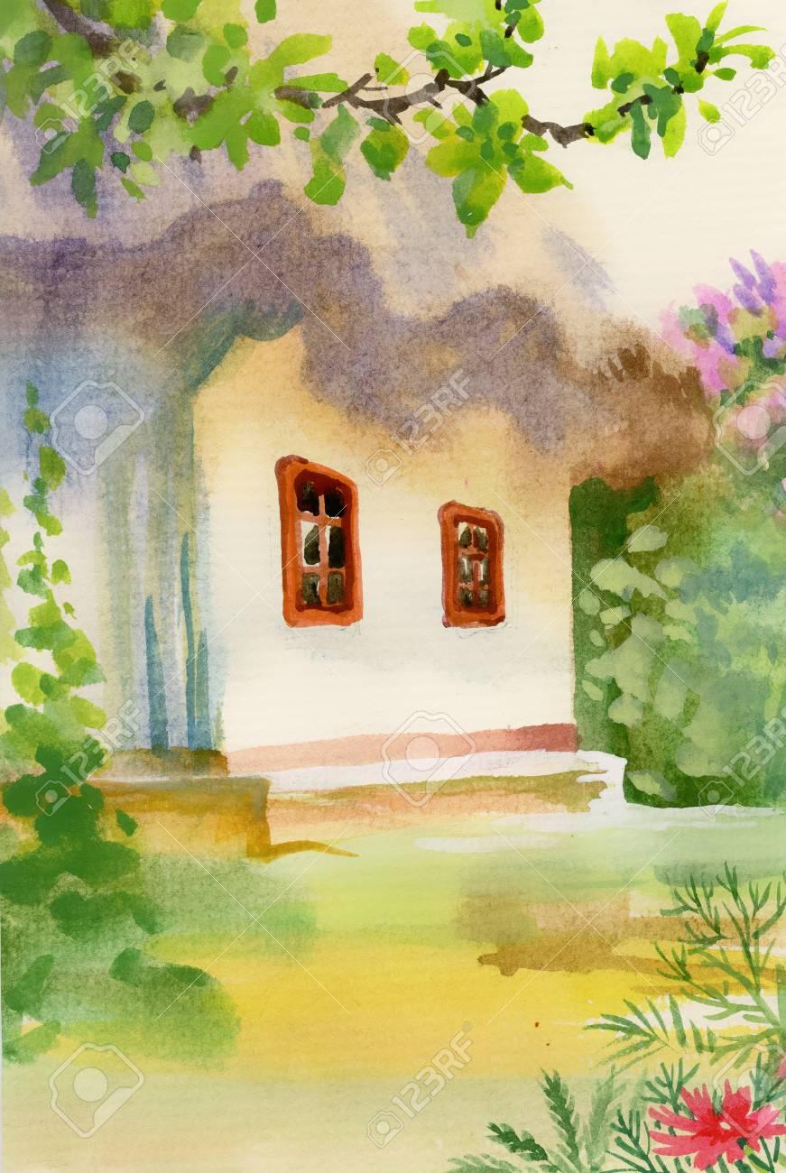 Rural Hut In The Garden Stock Vector   38169572