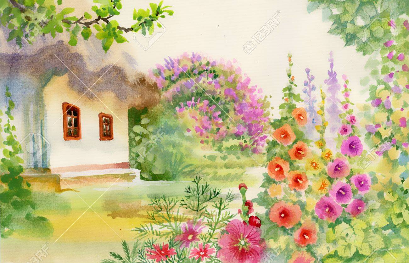 Charming Rural Hut In The Garden Stock Photo   38169613
