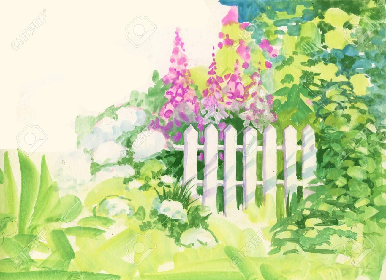 Watercolor Rural wooden fence in the garden - 38168263