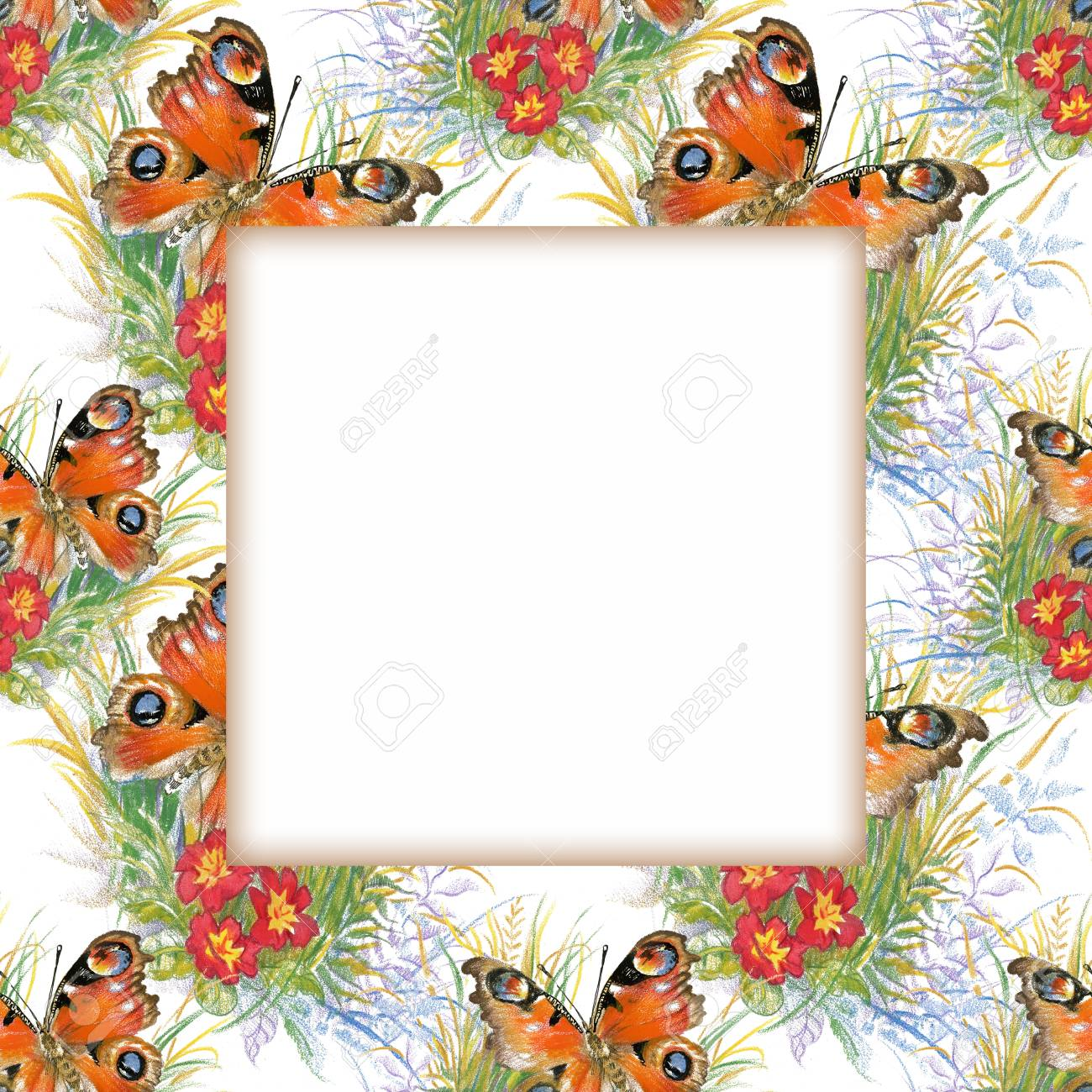 Watercolor Flower Frame On White Background Royalty Free Cliparts