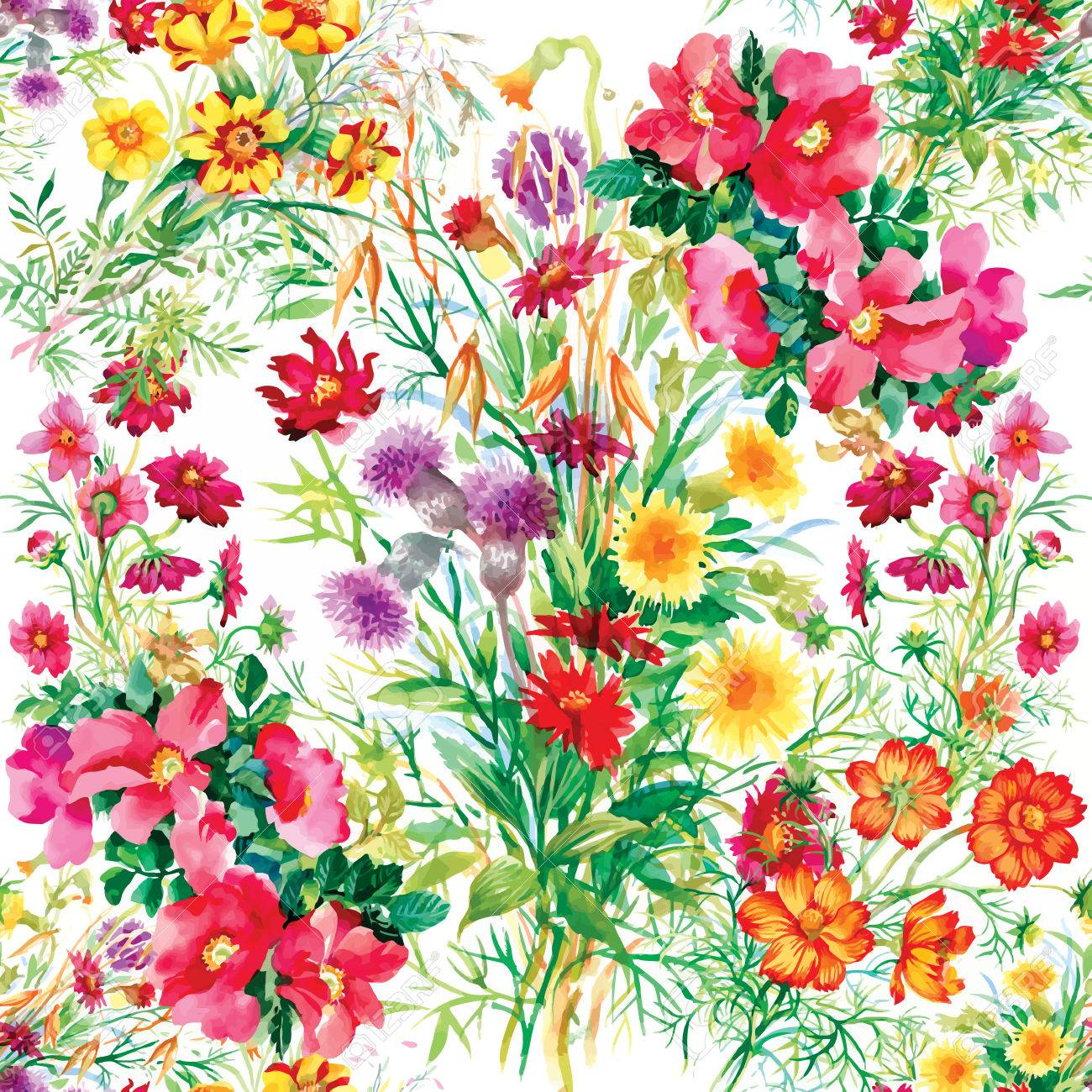 Colorful garden flowers Seamless pattern on white background - 40272702